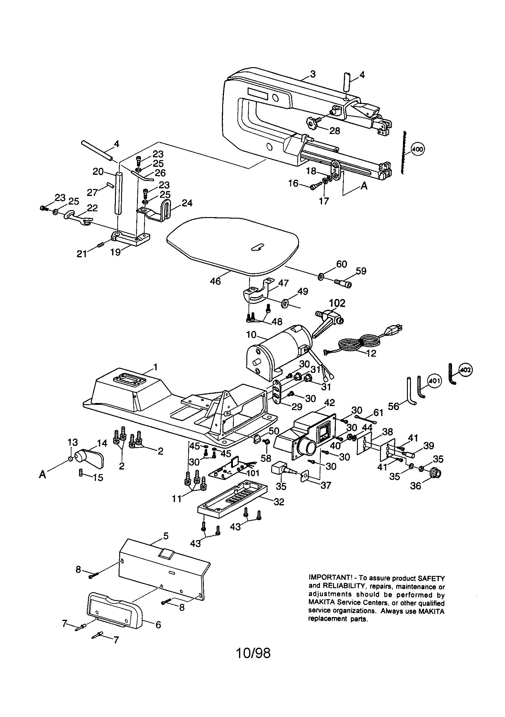 Makita model SJ401 saw scroll genuine parts