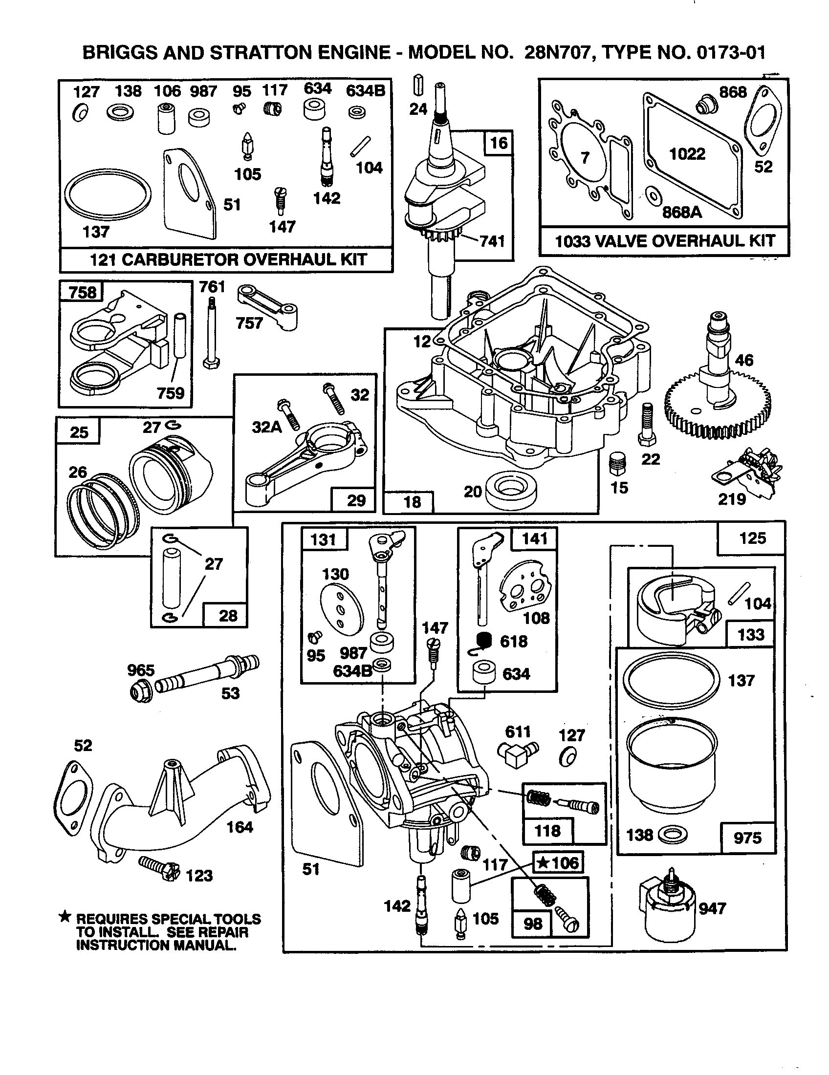 Briggs-Stratton model 28N707-0173-01 engine genuine parts