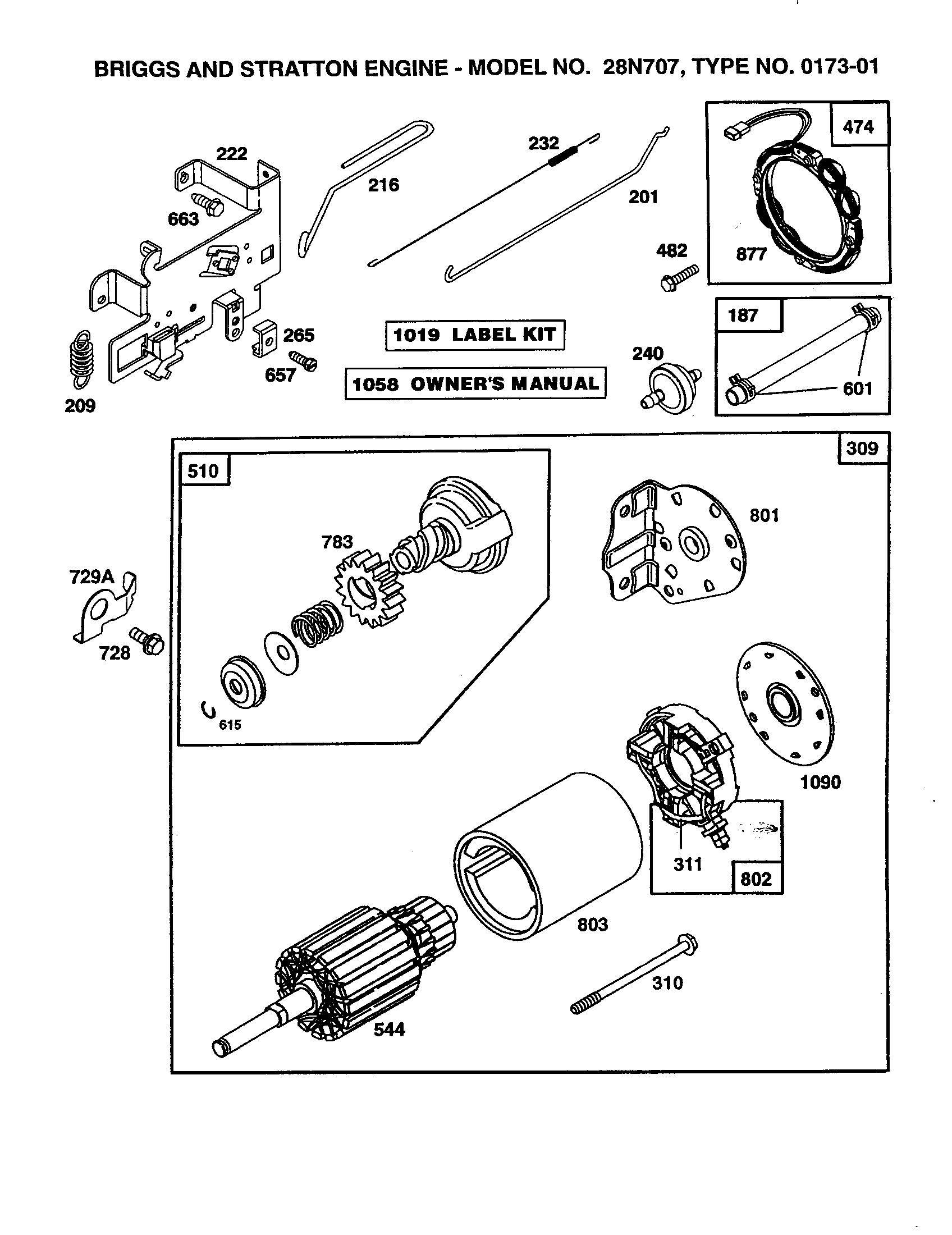 Briggs-Stratton model 28N707-0173-01 engine genuine parts