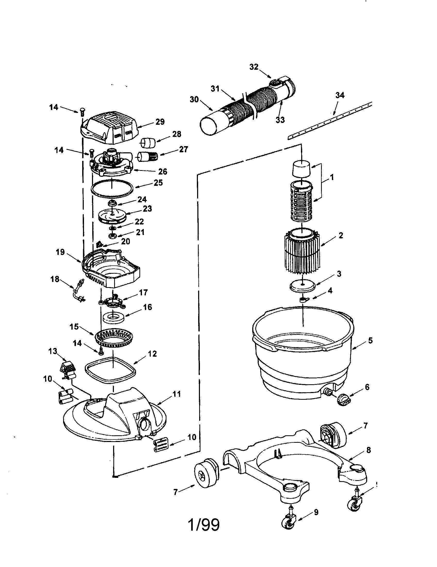 Craftsman model 113177260 wet/dry vacuum genuine parts