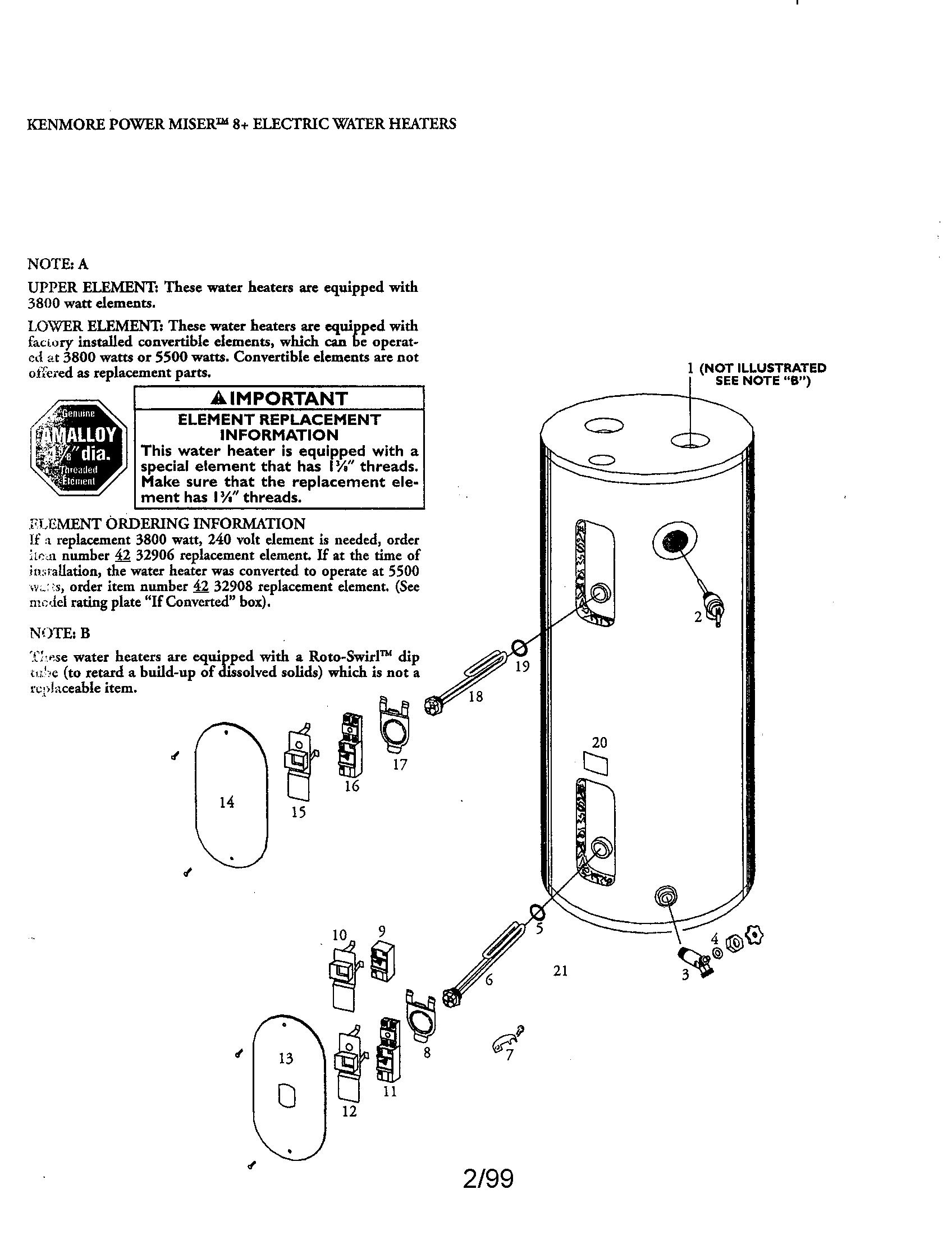 Kenmore model 153327564 water heater, electric genuine parts