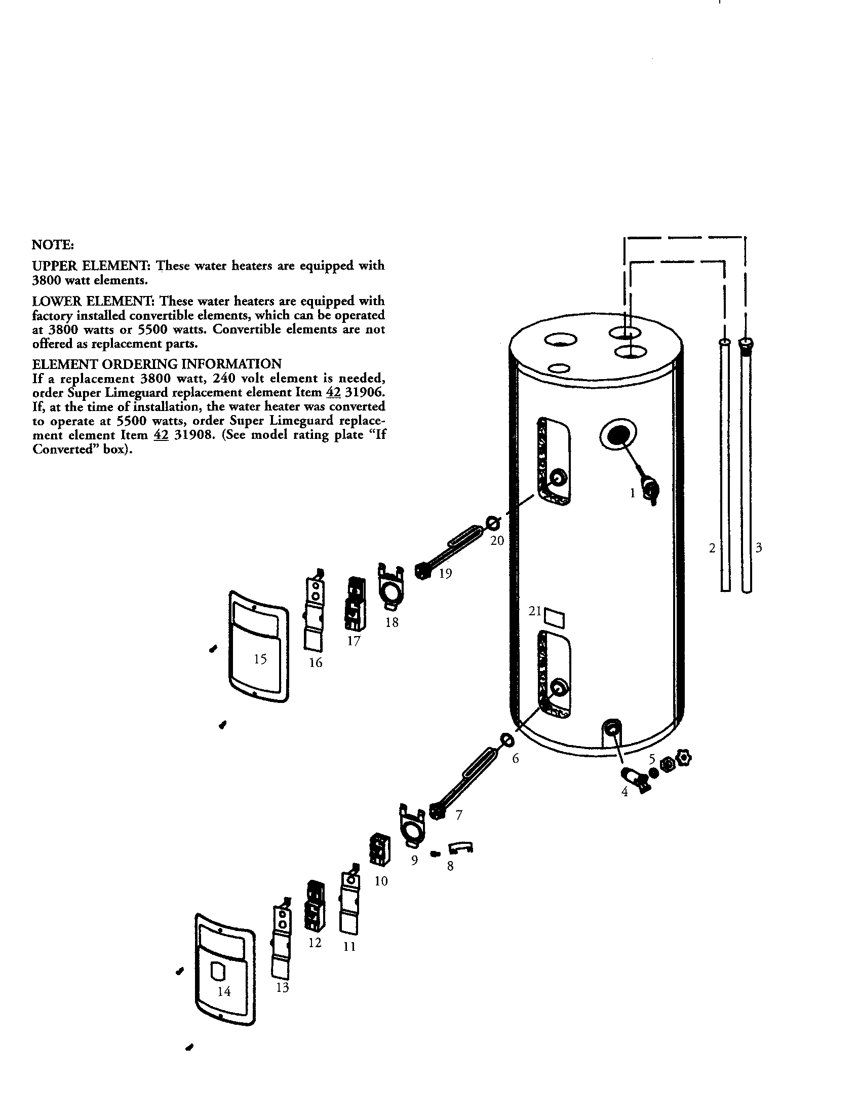 Kenmore model 153316754 water heater, electric genuine parts