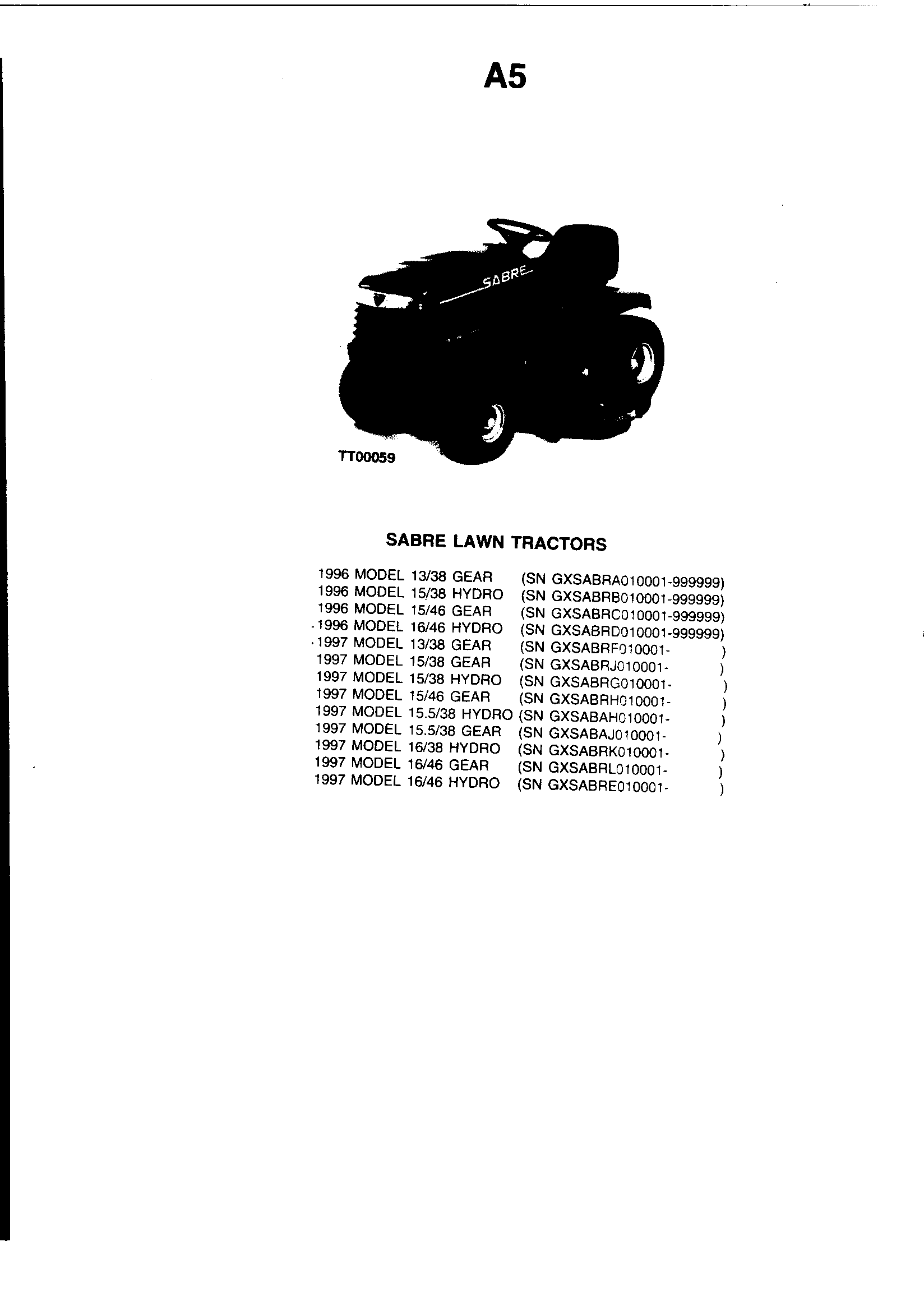 Sabre model 1338 GEAR GXSABRF lawn, tractor genuine parts