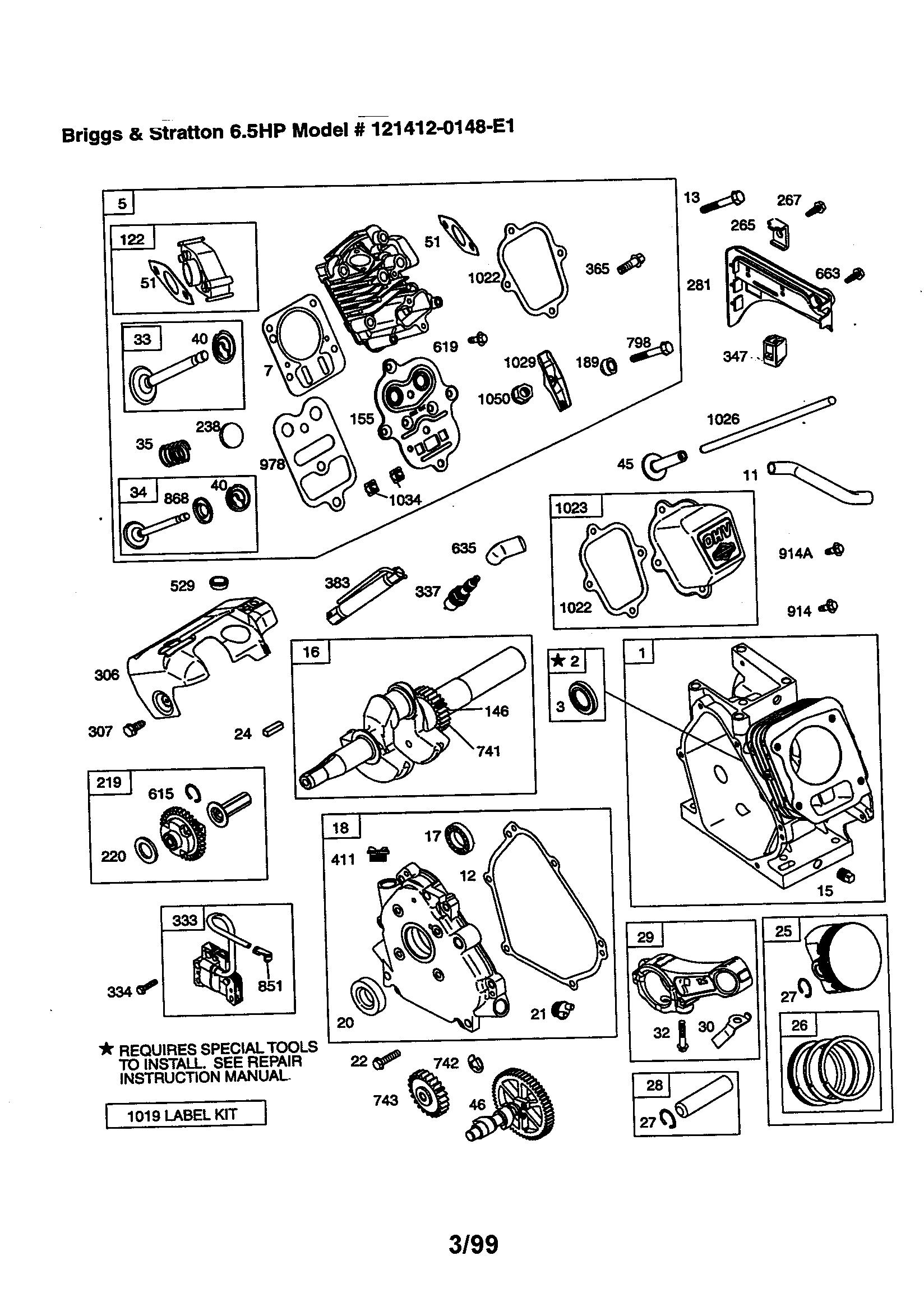 Briggs-Stratton model 121412-0148-E1 engine genuine parts