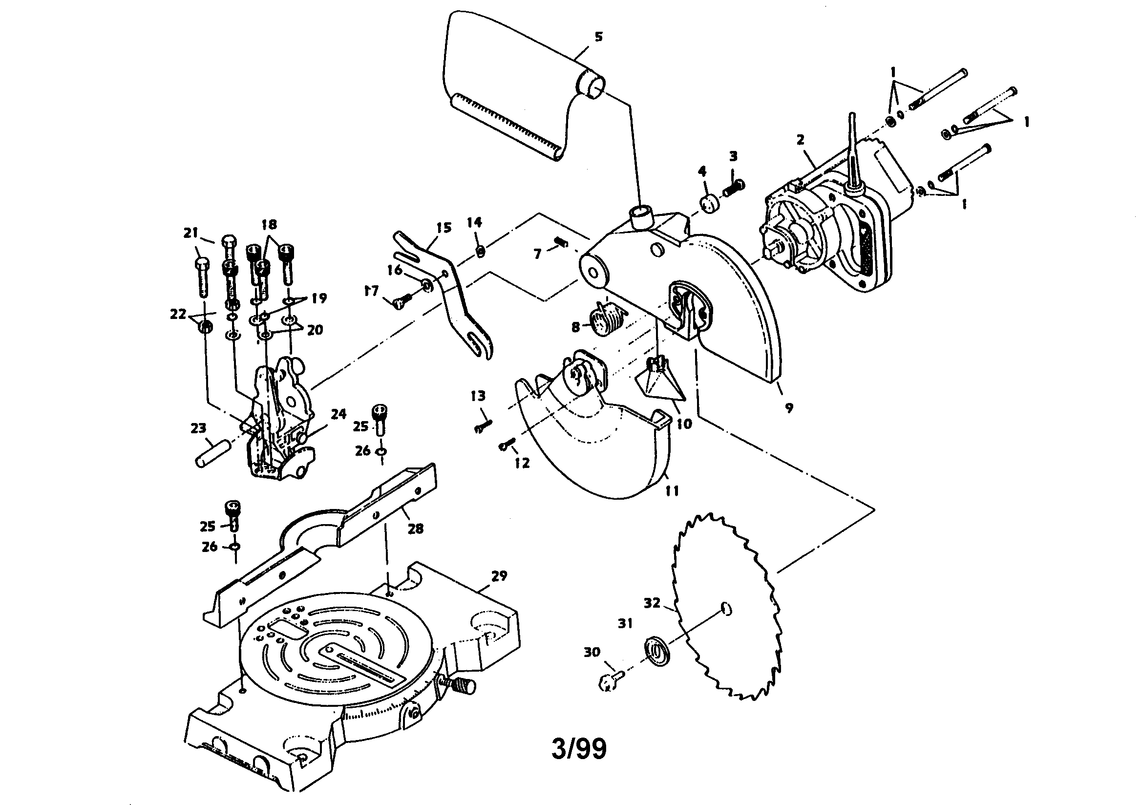 Pro-Tech model 7203 TYPE 2 miter saw genuine parts