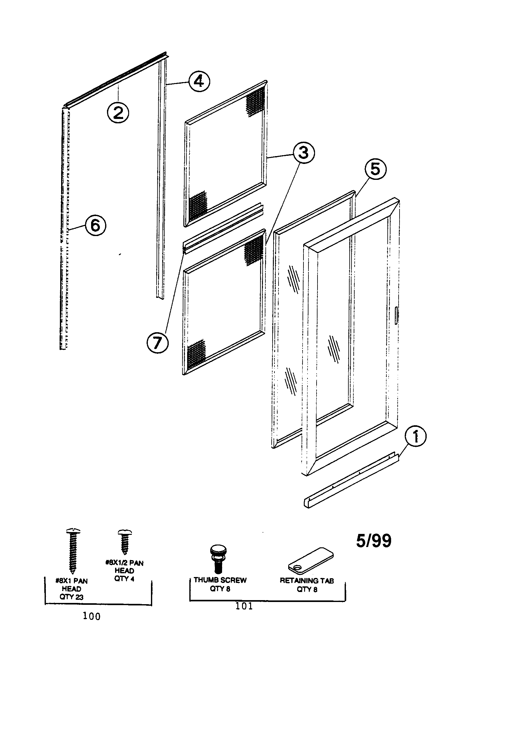Emco model FVLT-32WH storm/screen door genuine parts