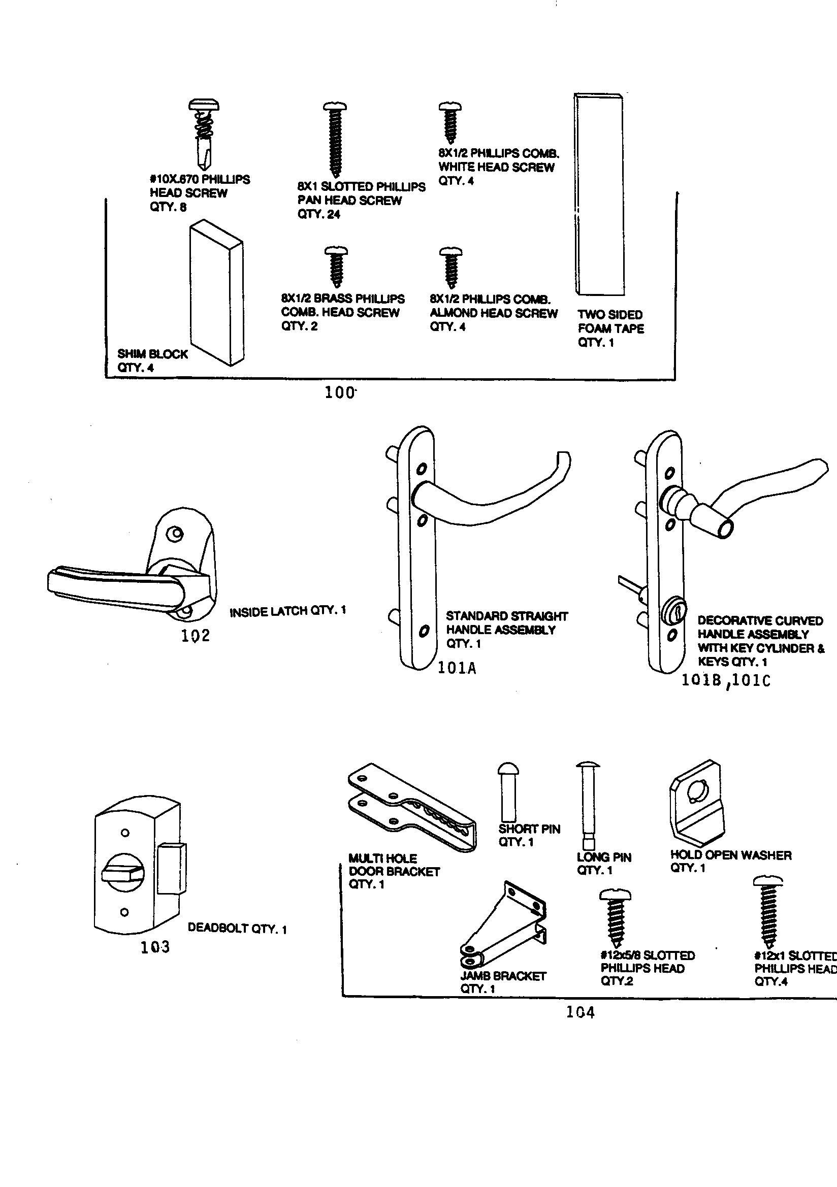Emco model UCV-36GR storm/screen door genuine parts