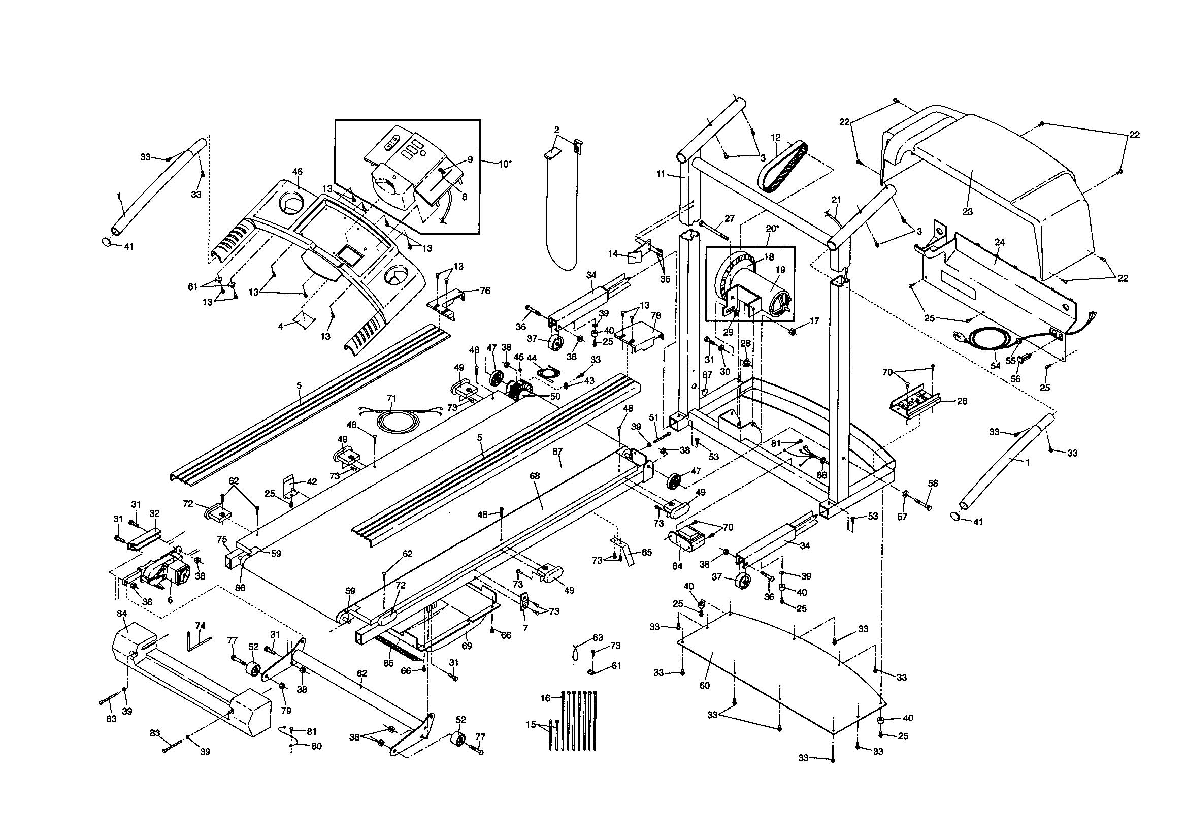 Proform model 831299200 treadmill genuine parts