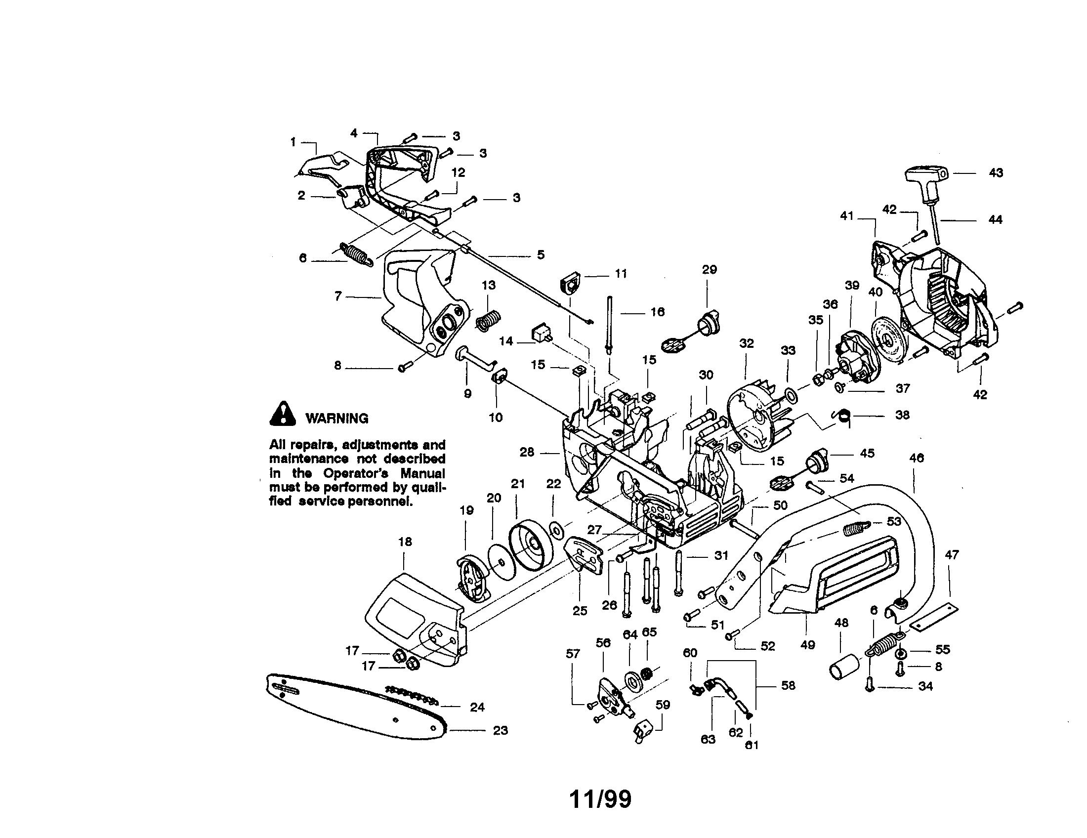 Craftsman model 358350260 chainsaw, gas genuine parts