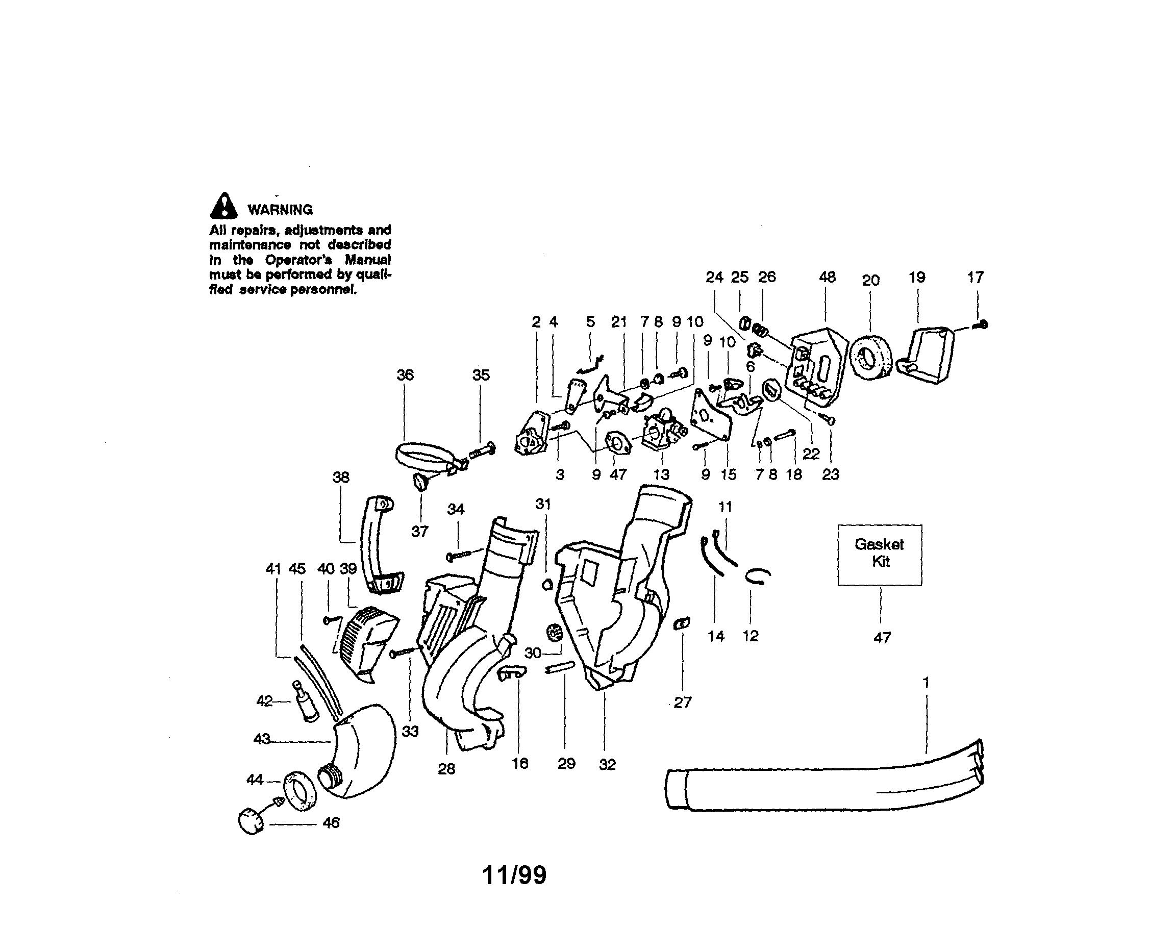 Craftsman model 358797310 blower, gas genuine parts