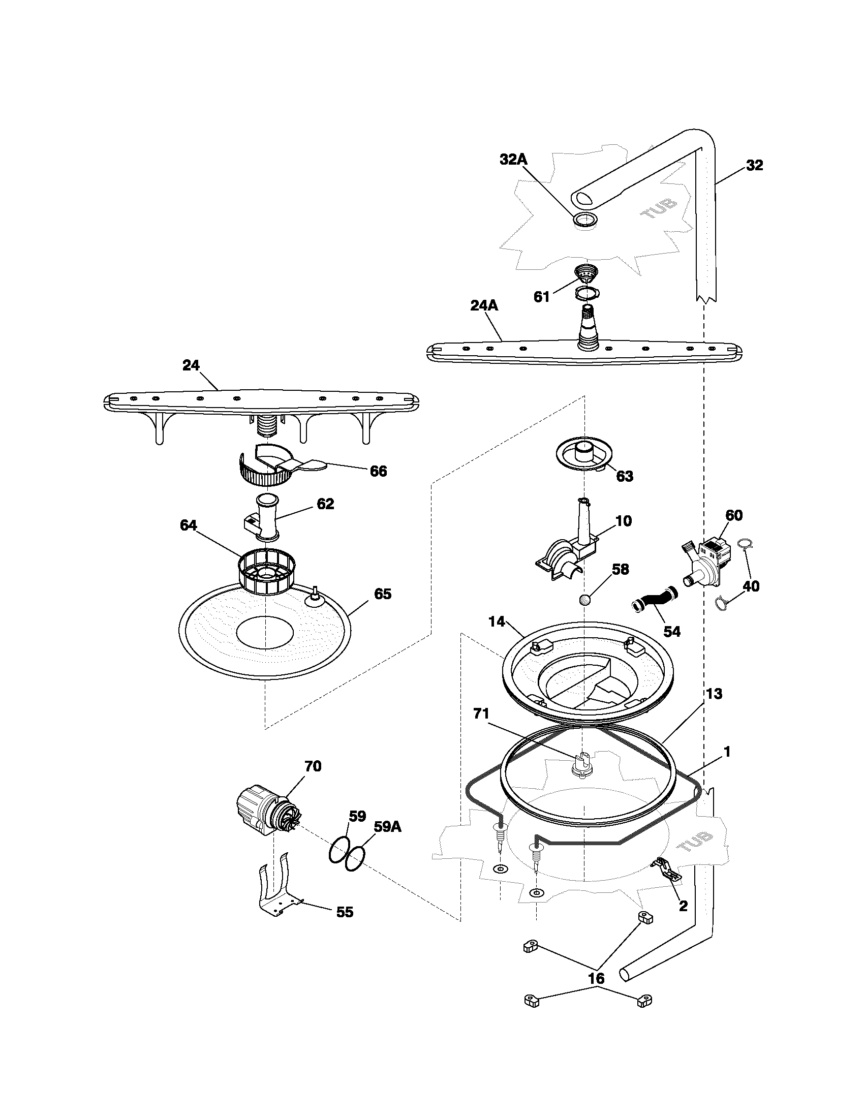 Frigidaire model PLDB998CC0 dishwasher genuine parts