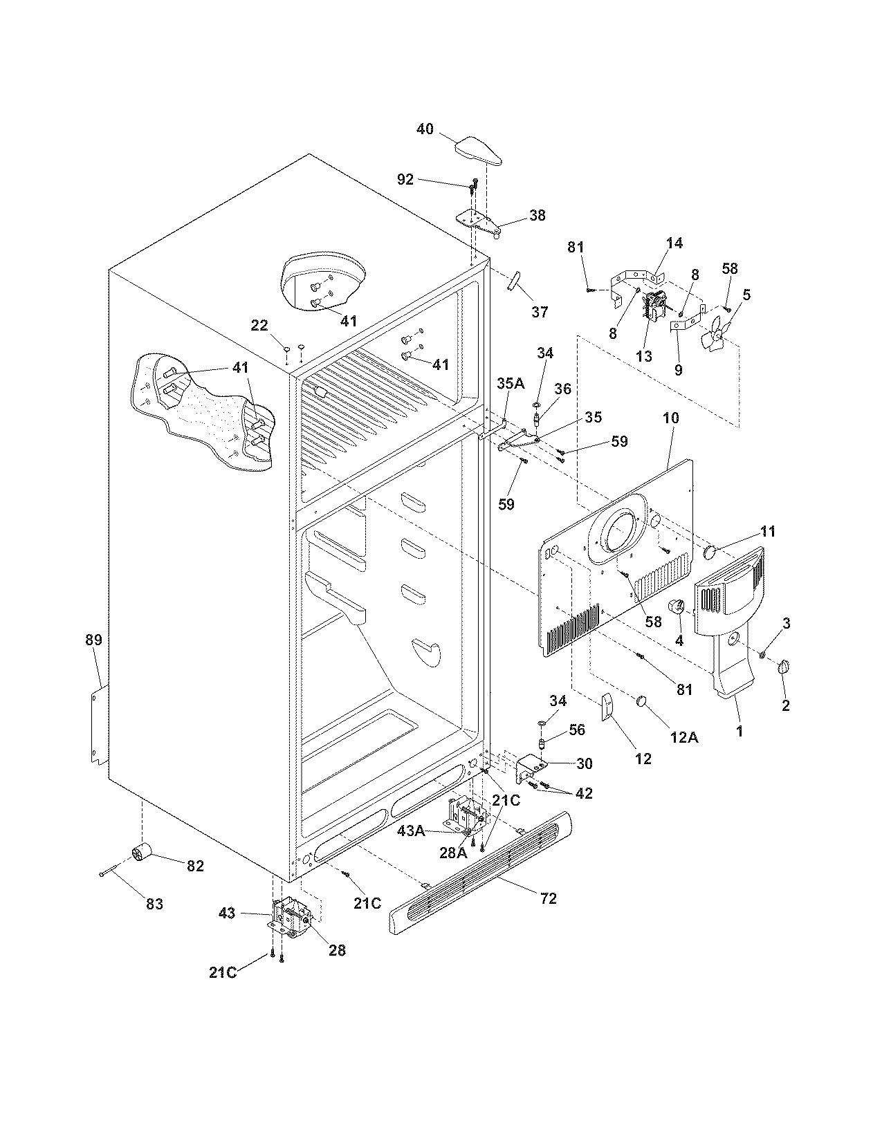 Crosley model CRTE181AW3 top-mount refrigerator genuine parts
