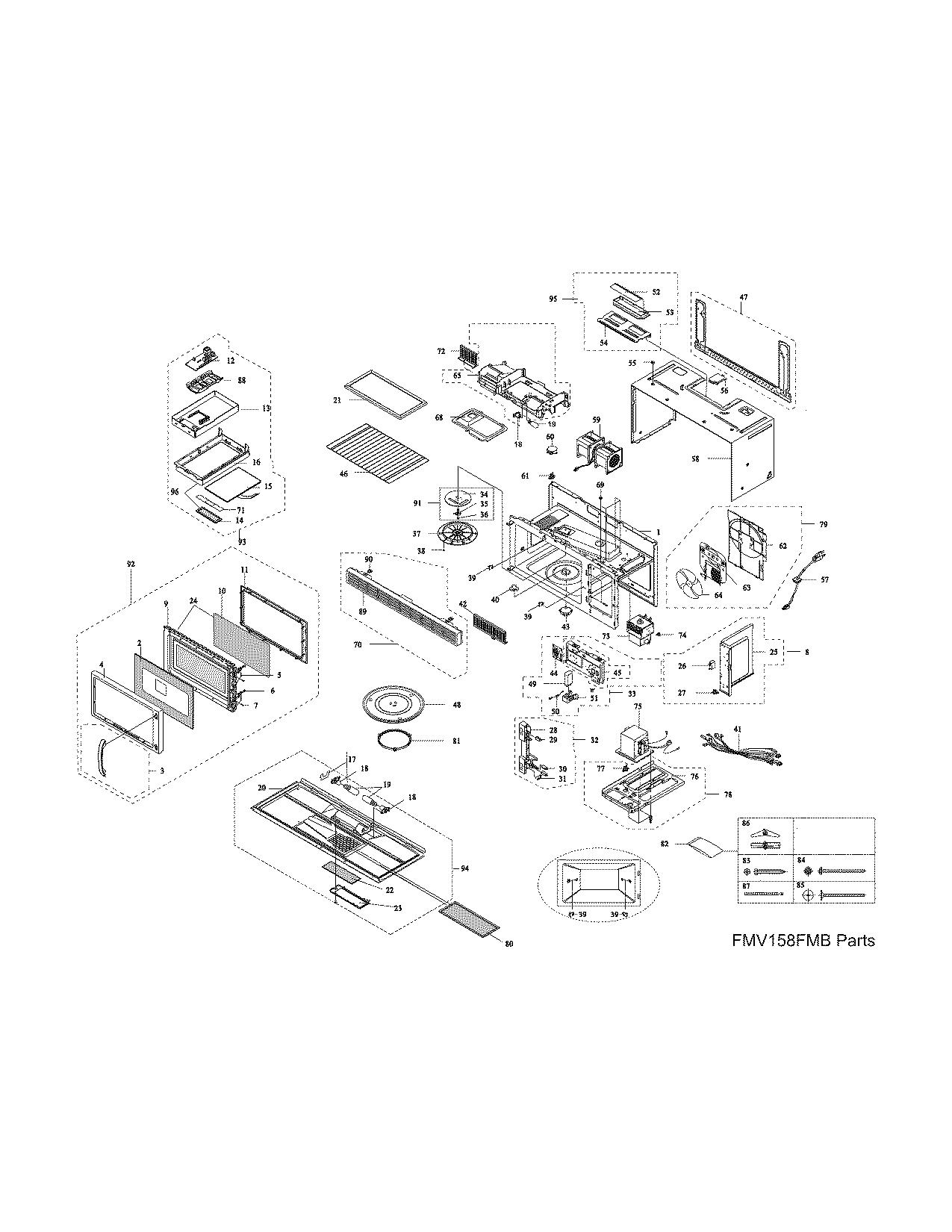Frigidaire model FMV158FMB microwave/hood combo genuine parts