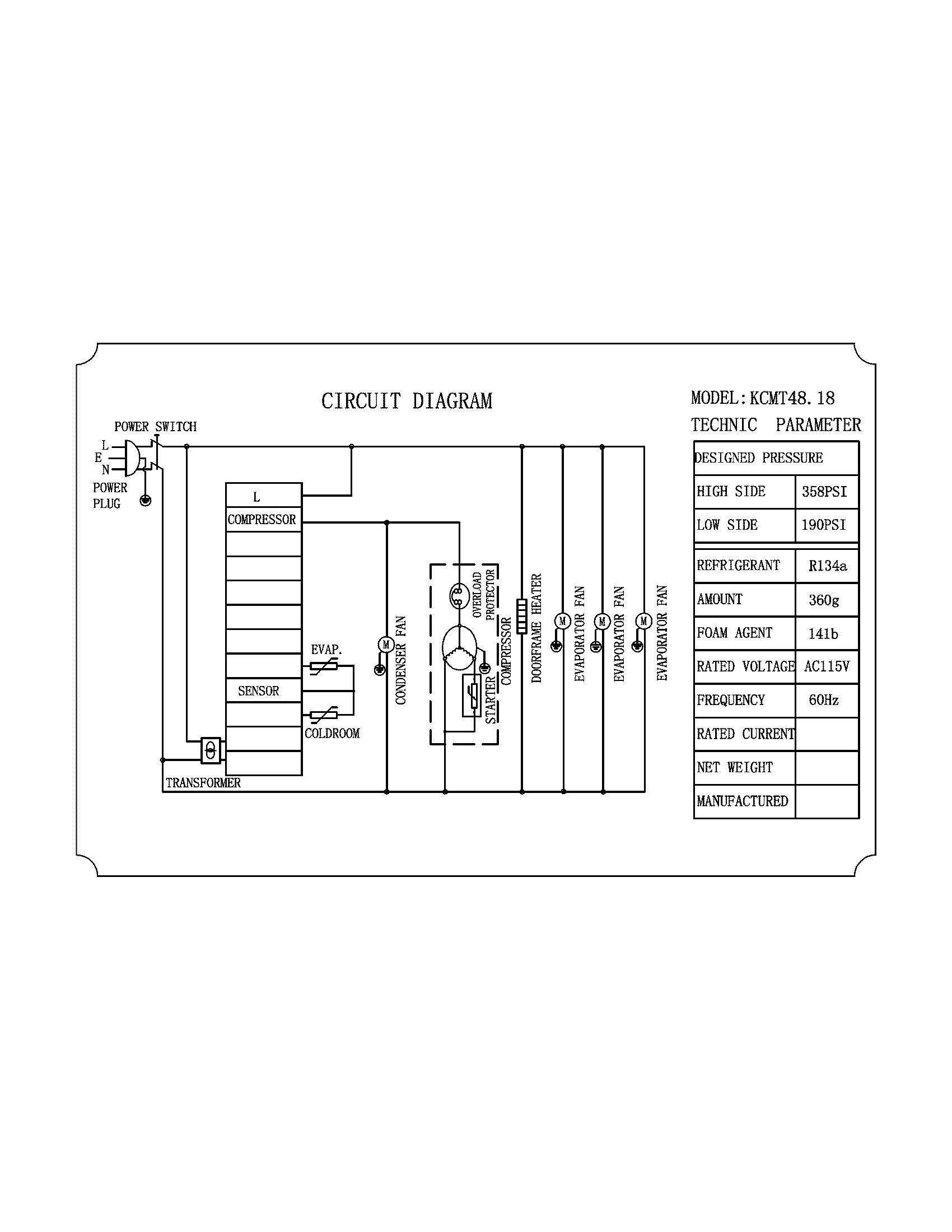 Kelvinator model KCMT48-18 refrigeration-commercial