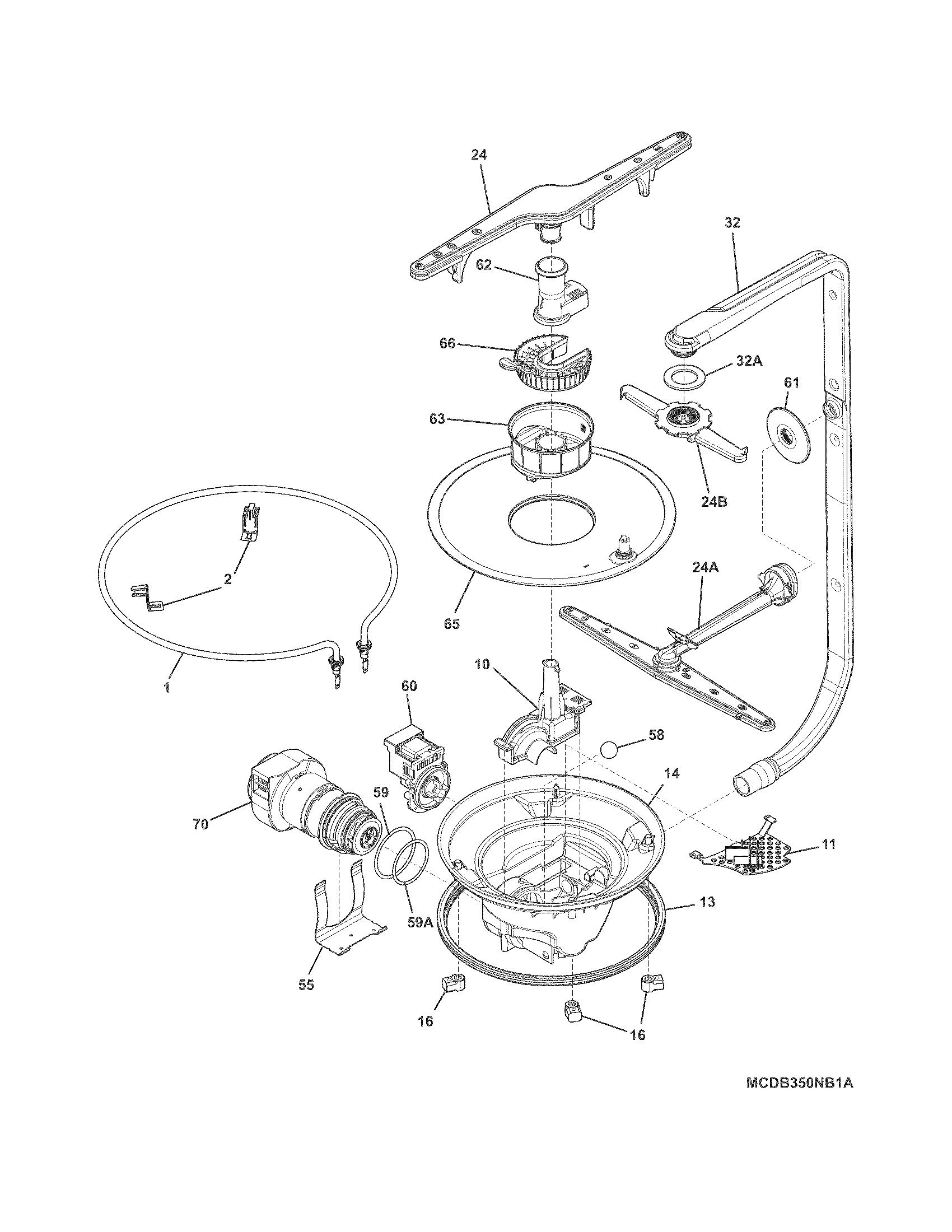 Frigidaire model FFBD2406NW2A dishwasher genuine parts