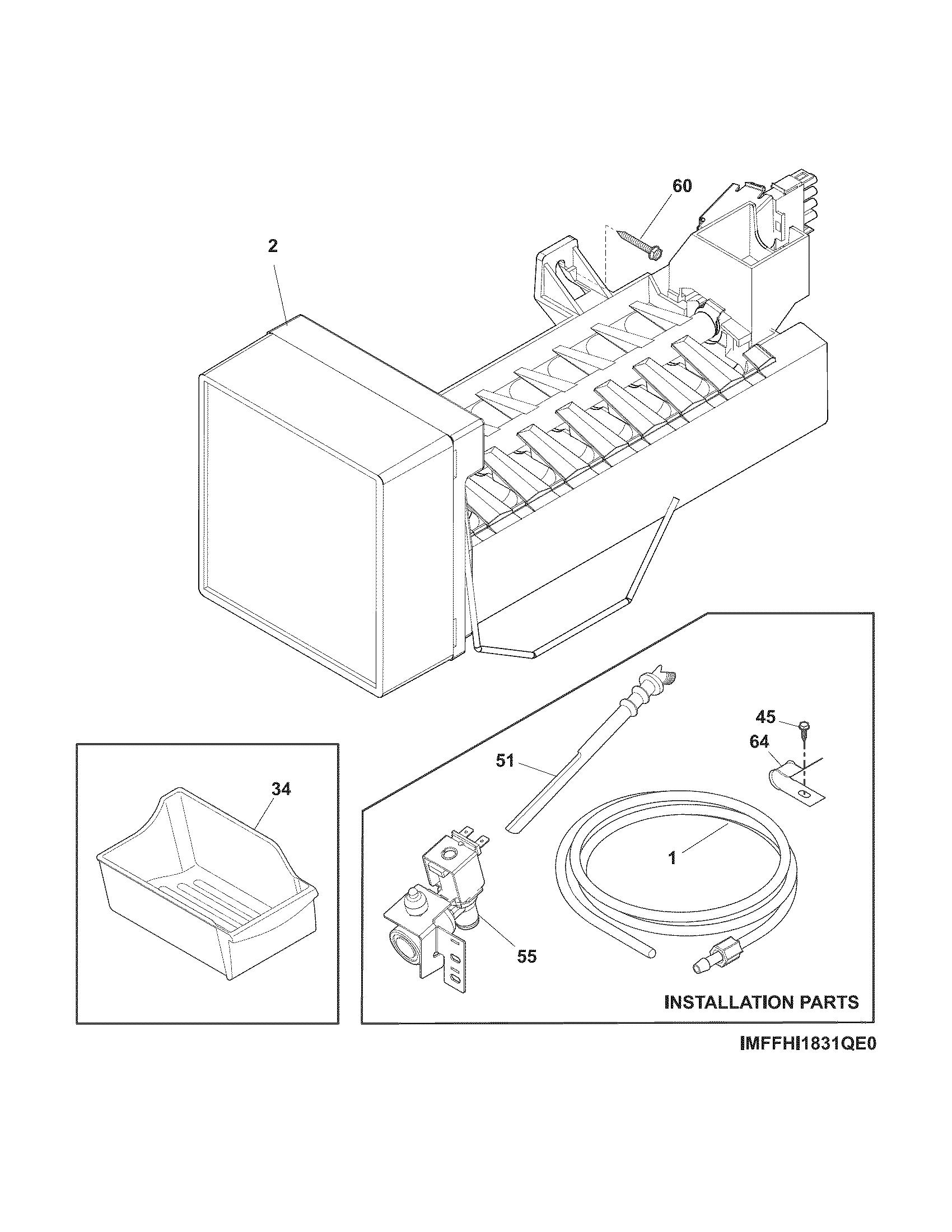 Frigidaire model FFHI1831QS0 top-mount refrigerator