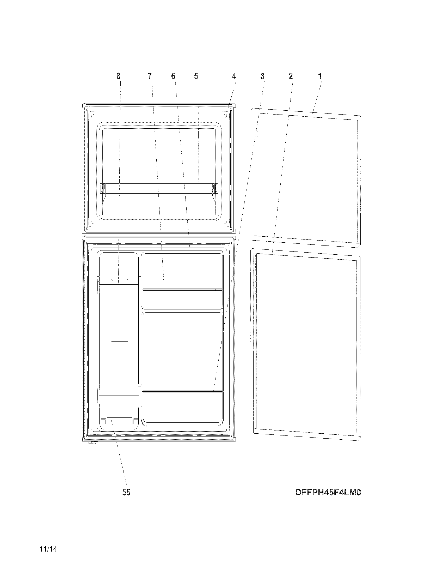 Frigidaire model FFPS45L3QM0 under counter refrigerator