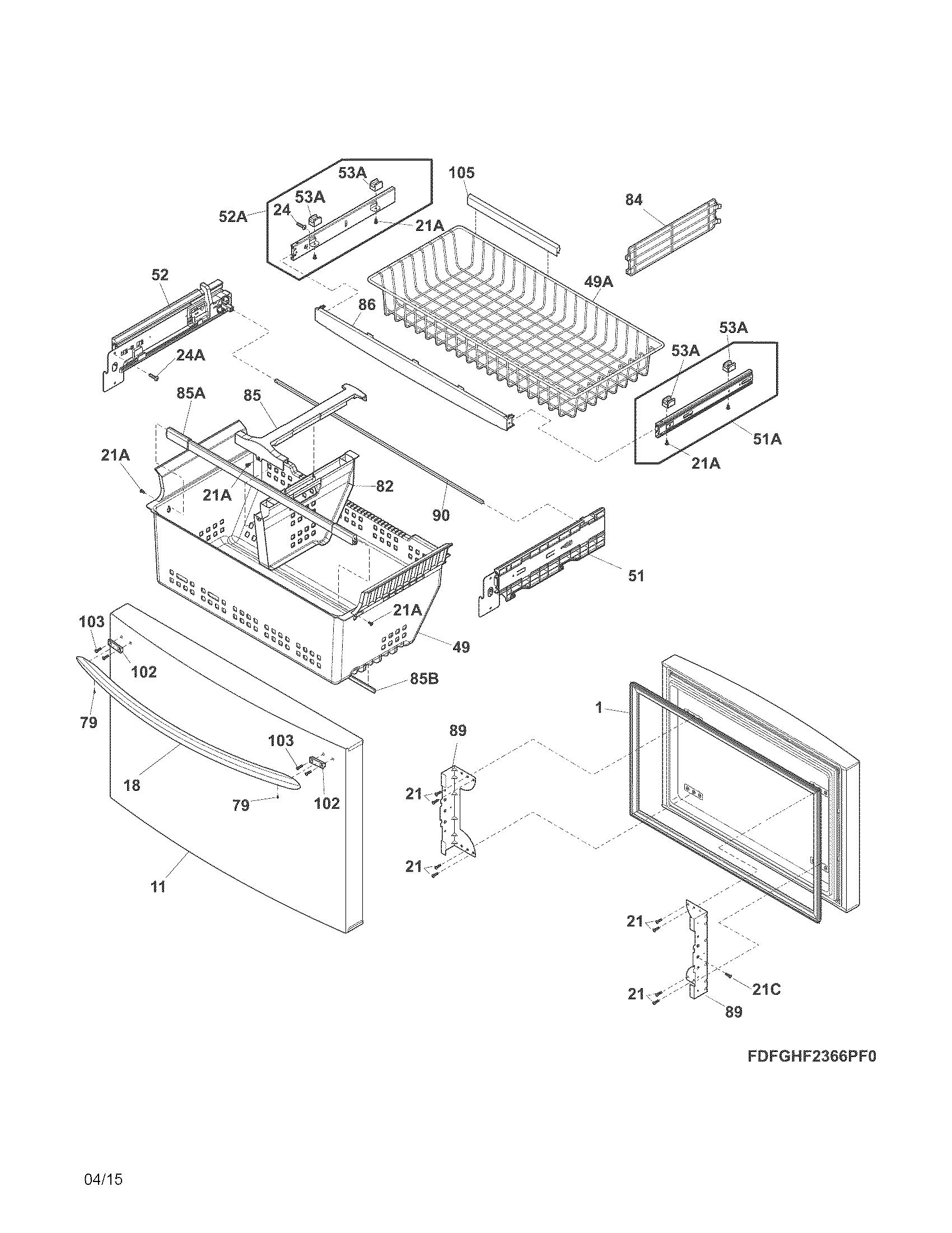 Frigidaire model FGHG2366PF1A bottom-mount refrigerator