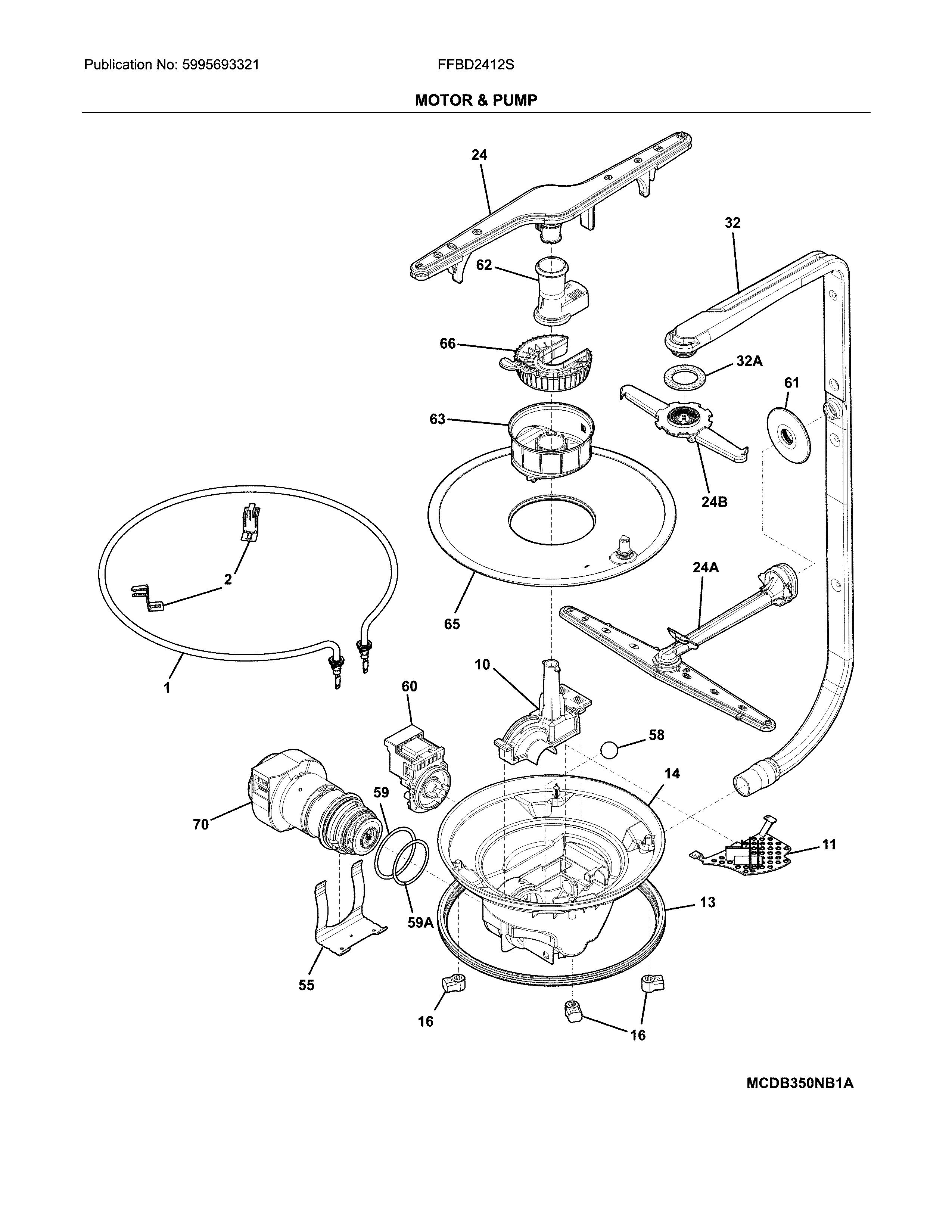 Frigidaire model FFBD2412SS2A dishwasher genuine parts
