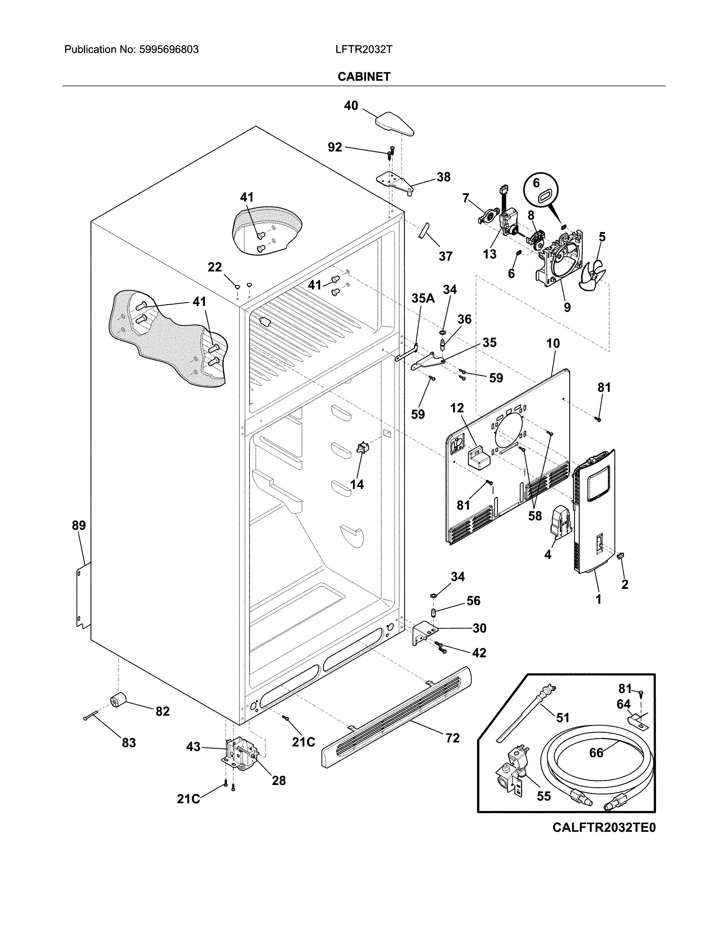 Frigidaire model LFTR2032TF1 top-mount refrigerator