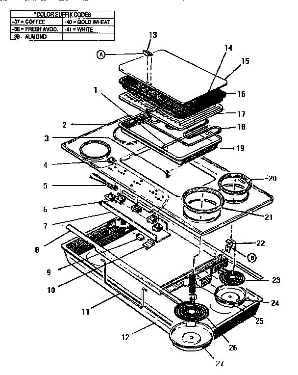 Thermador model CV2136PB counter unit electric genuine parts