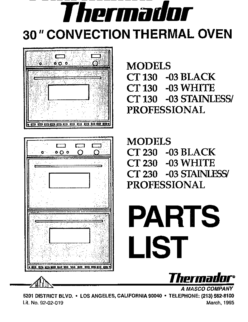 Thermador model CT230-03 built-in oven, electric genuine parts