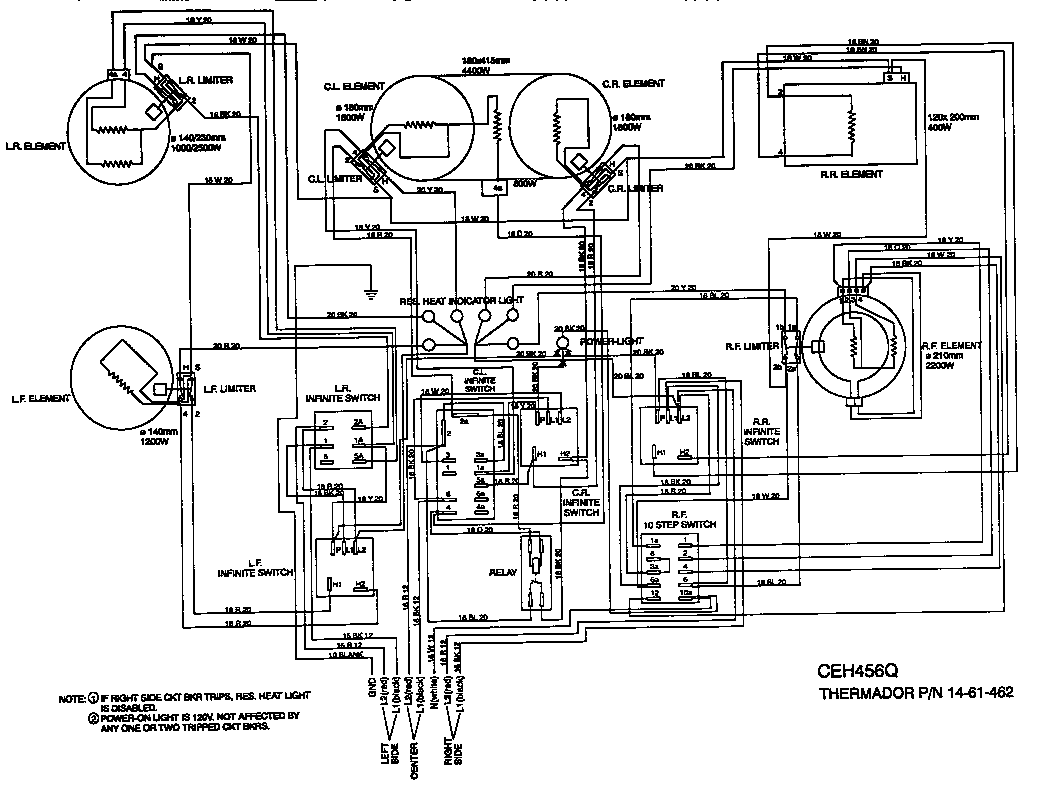 Thermador model CEH456QB counter unit electric genuine parts
