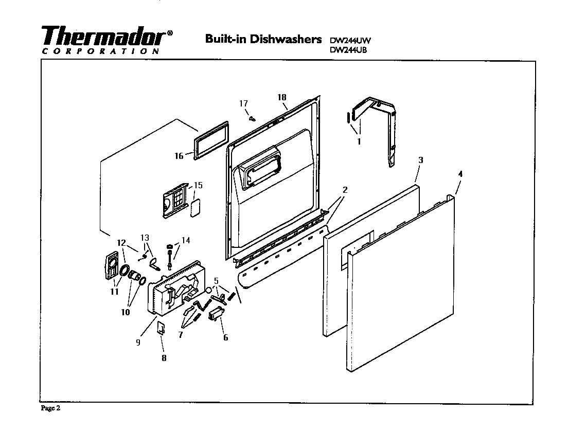 Thermador model DW244UB dishwasher genuine parts