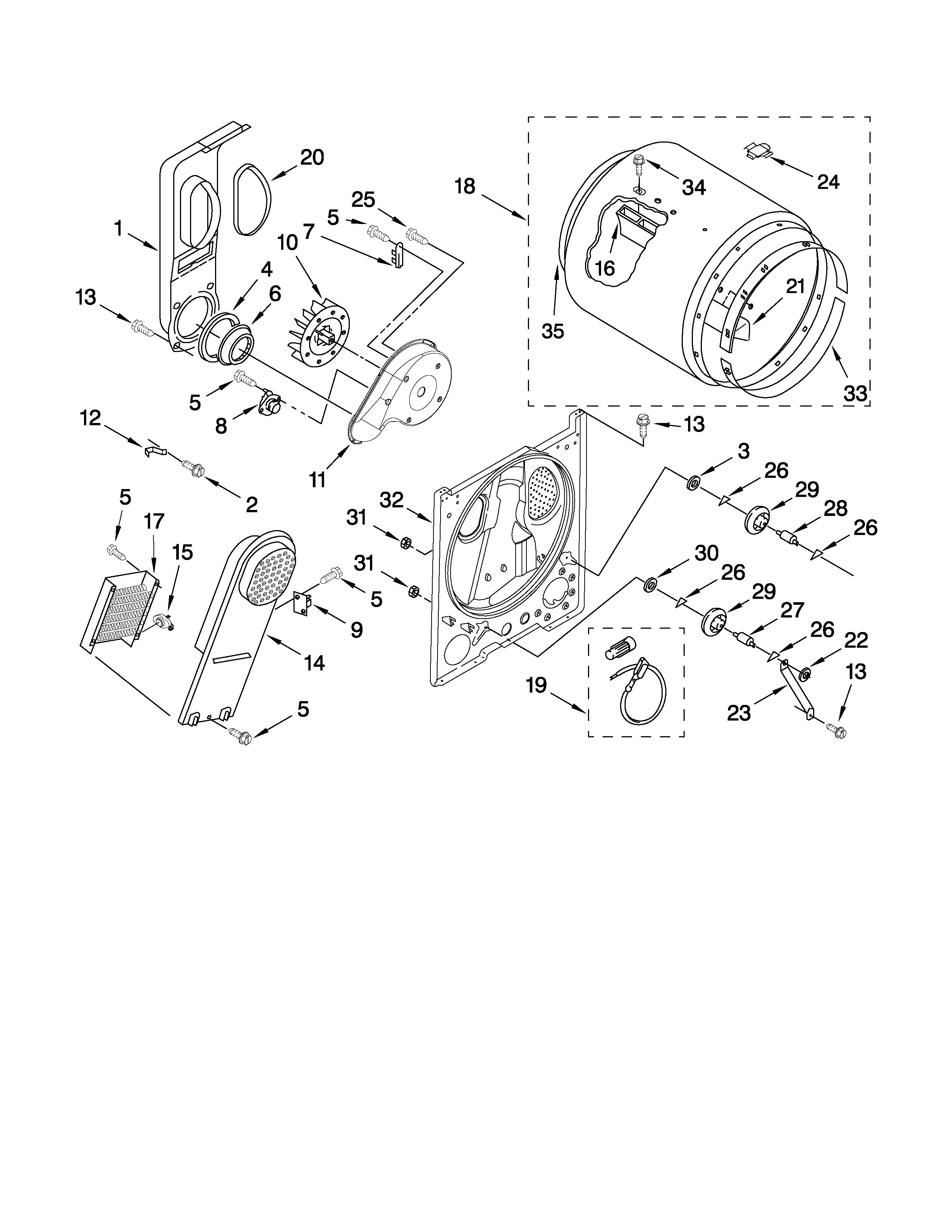 Roper model RED4440VQ1 residential dryer genuine parts
