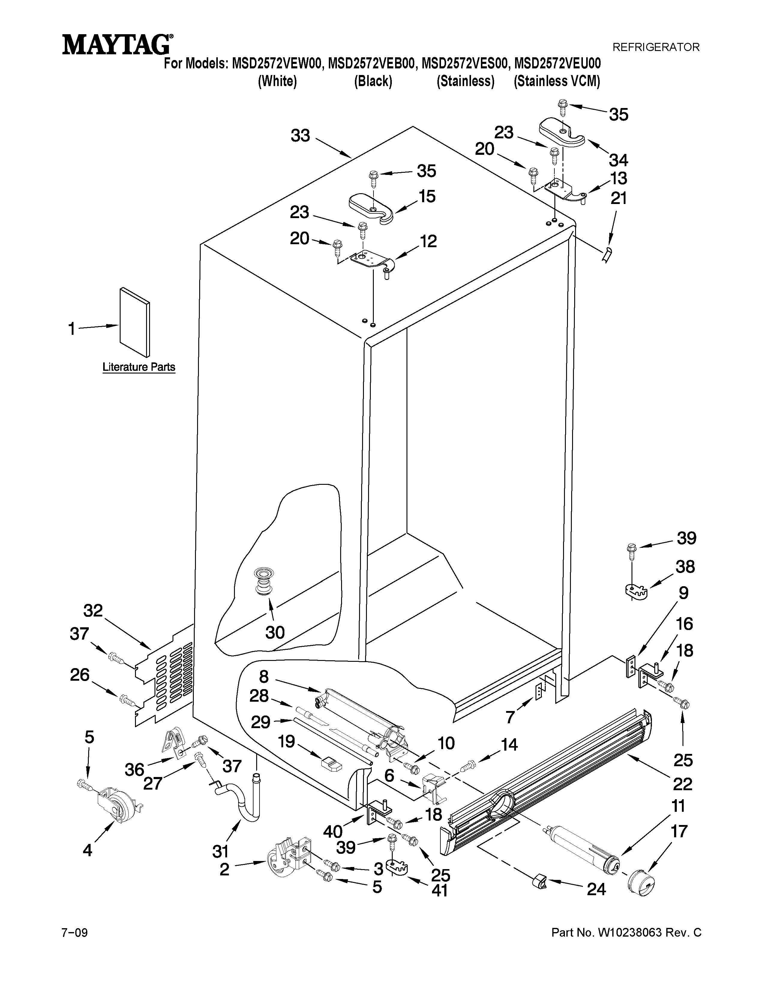 Maytag model MSD2572VEB00 side-by-side refrigerator