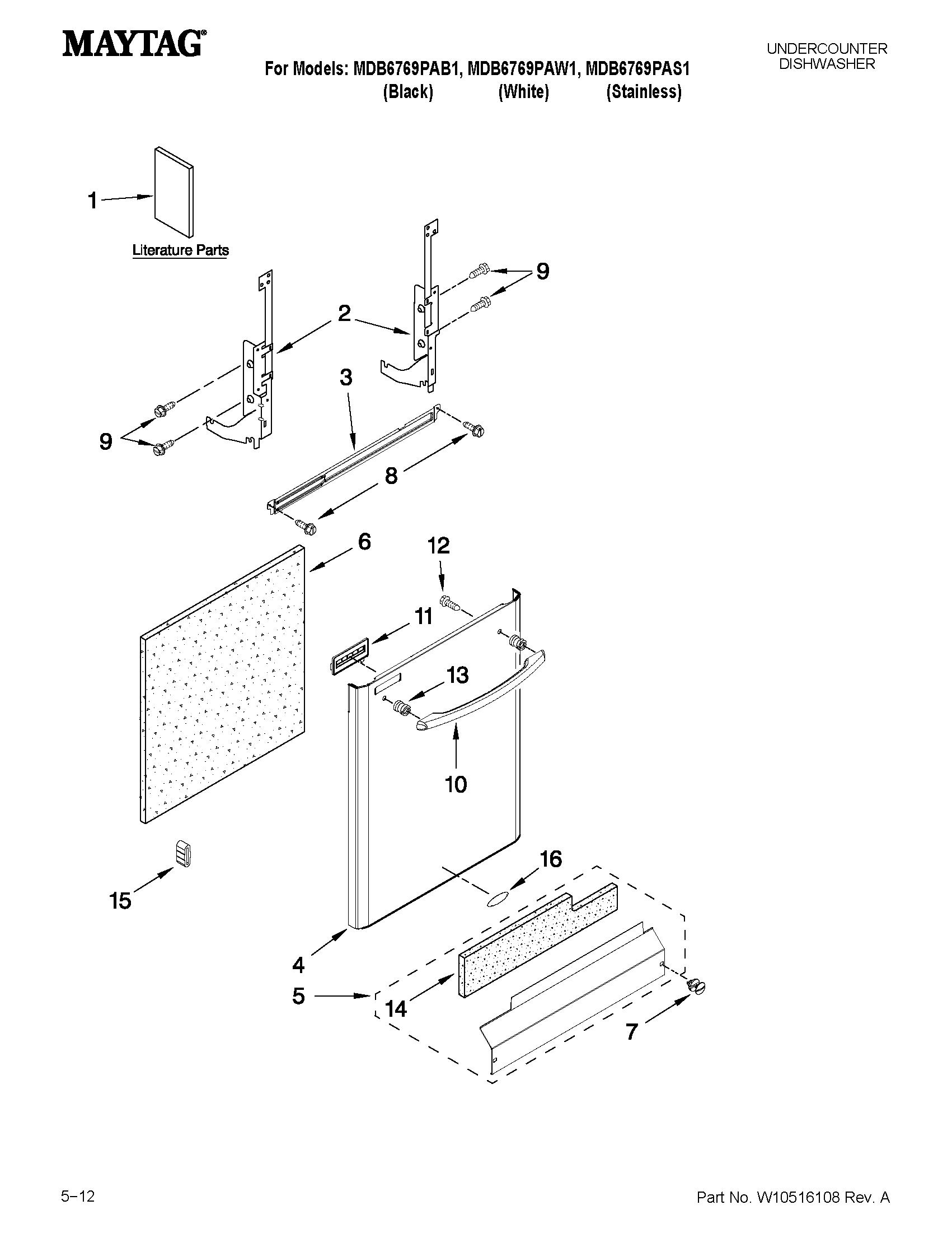 Maytag model MDB6769PAS1 dishwasher genuine parts