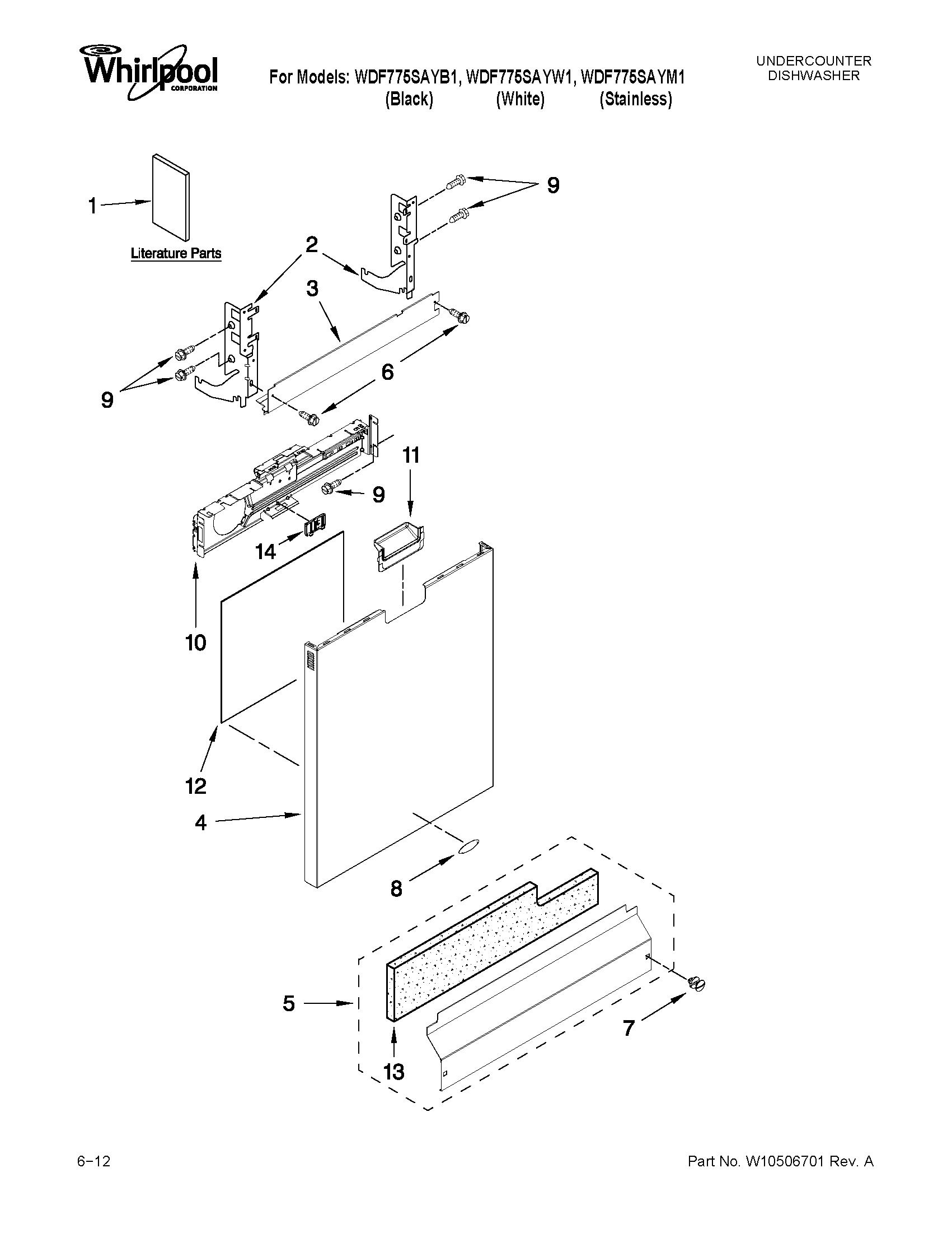 Whirlpool model WDF775SAYB1 dishwasher genuine parts