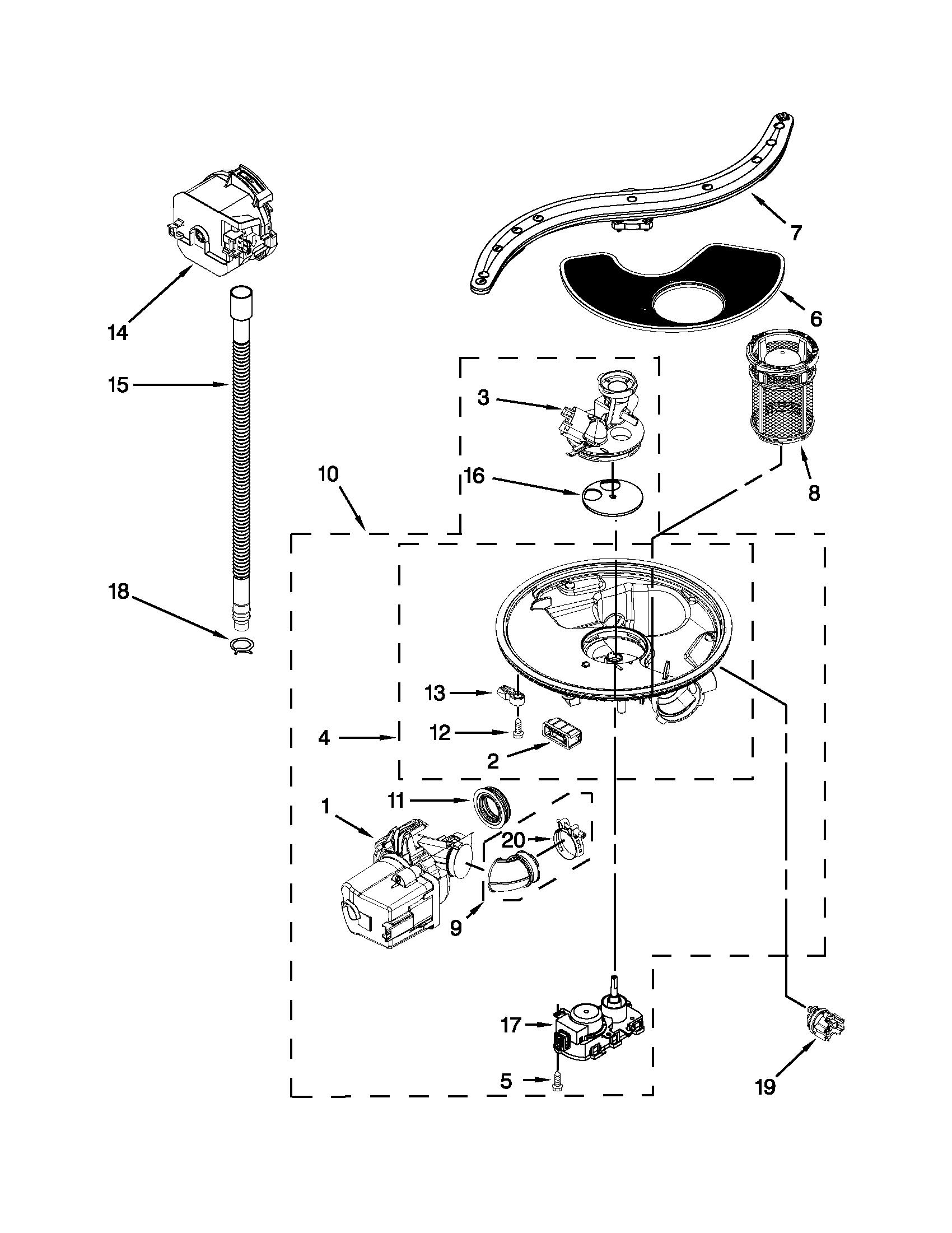 Kitchenaid model KUDE20FBSS0 dishwasher genuine parts