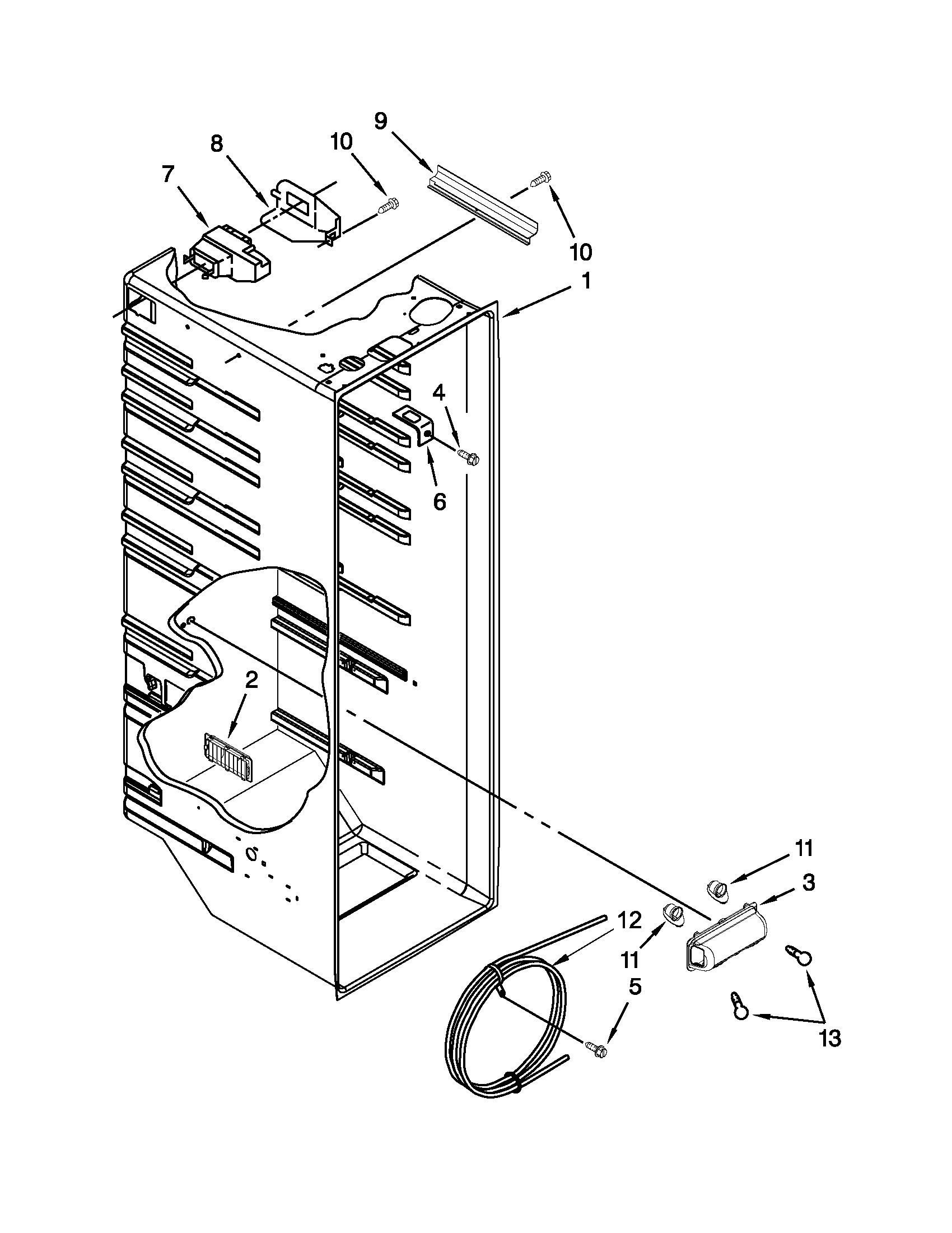 Whirlpool model ED2VHEXVQ01 side-by-side refrigerator