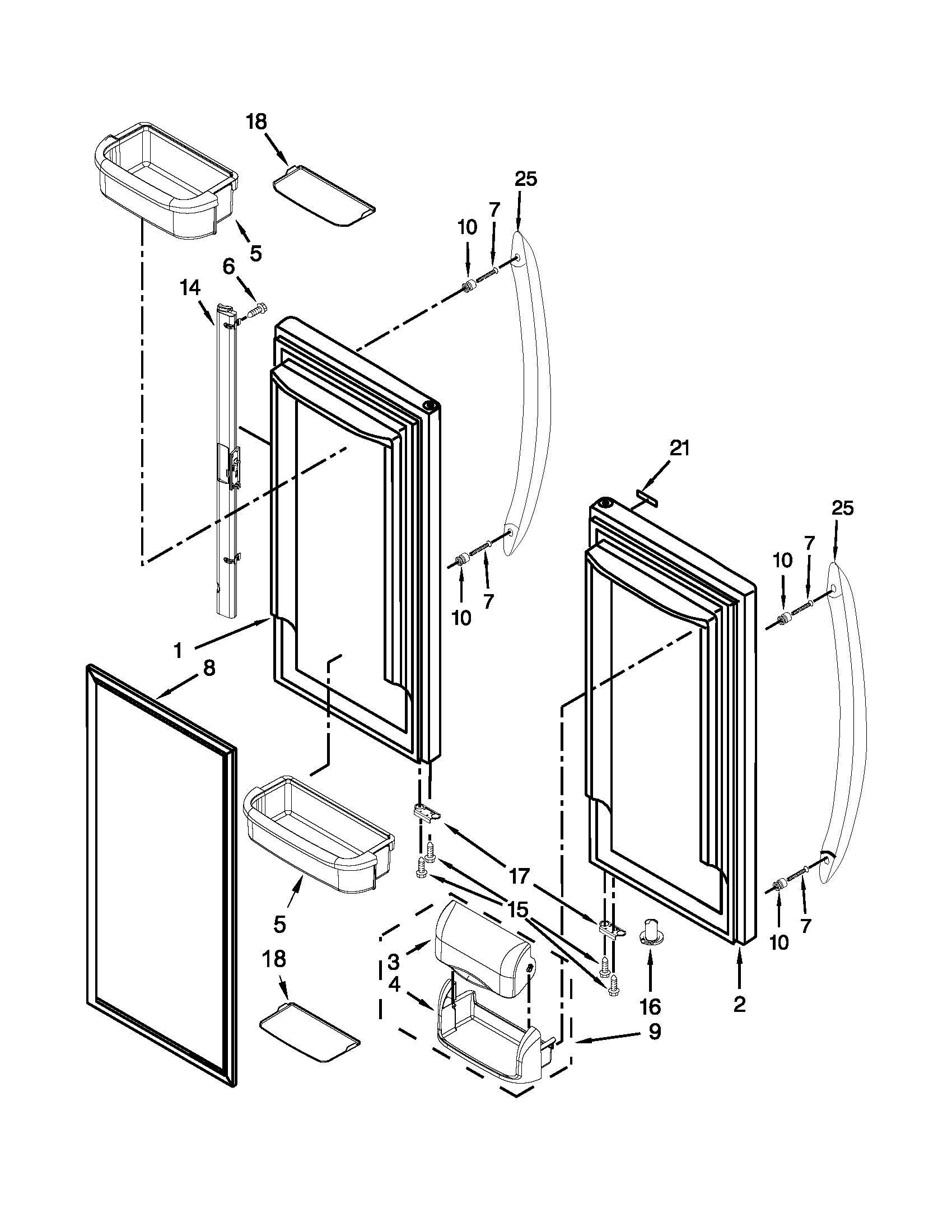 Kitchenaid model KBFS22EWMS4 bottom-mount refrigerator