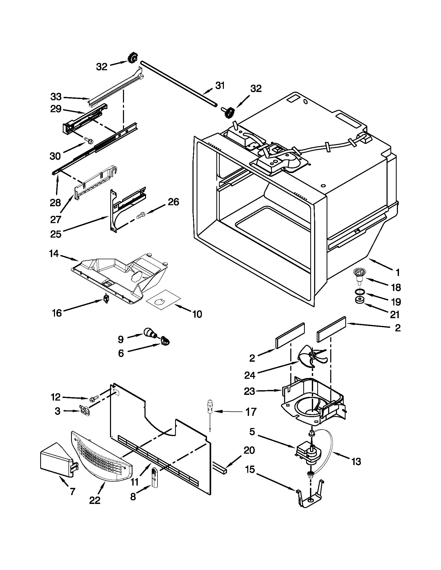 Kitchenaid model KBFS22EWMS7 bottom-mount refrigerator