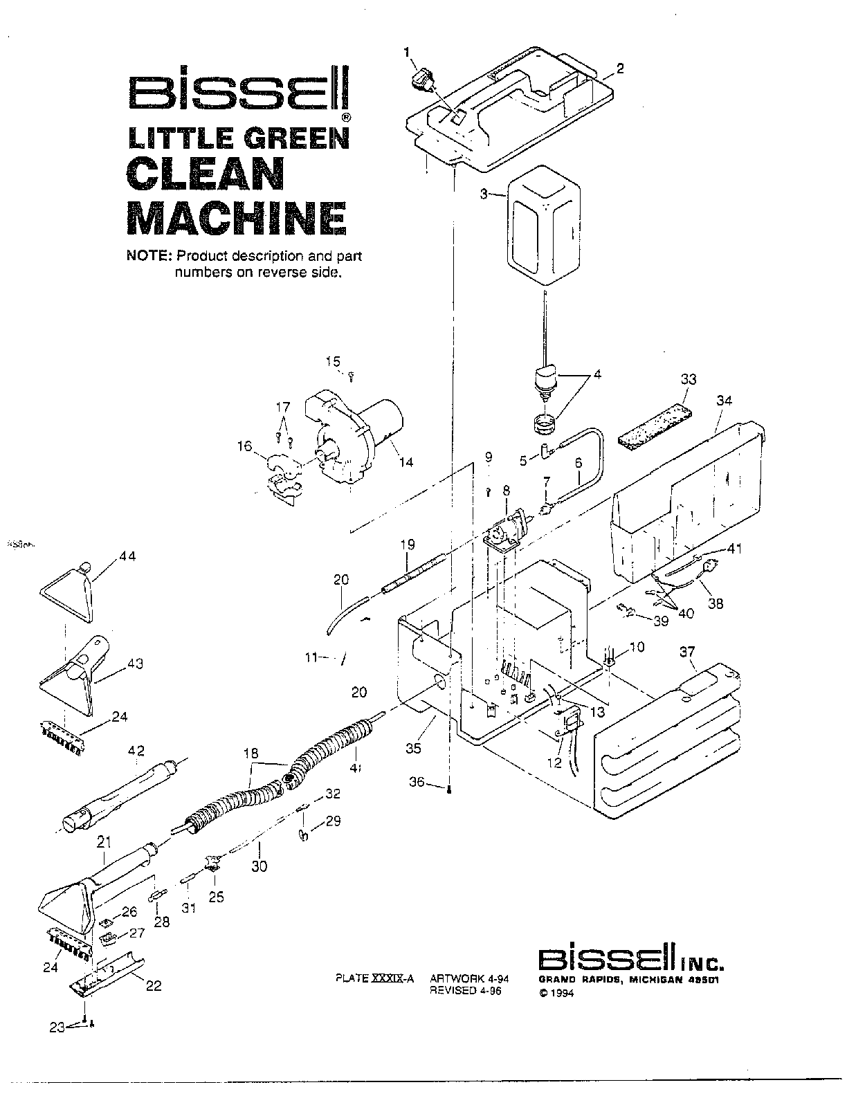 Bissell model 16534 carpet cleaner genuine parts