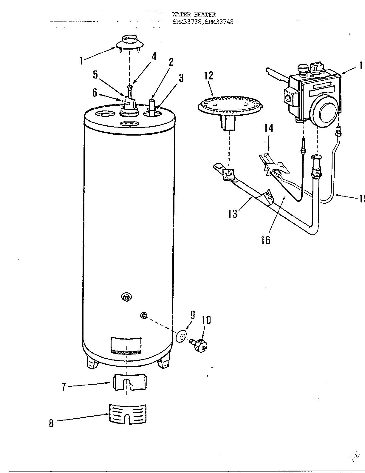 Rheem model 33738 water heater, gas genuine parts