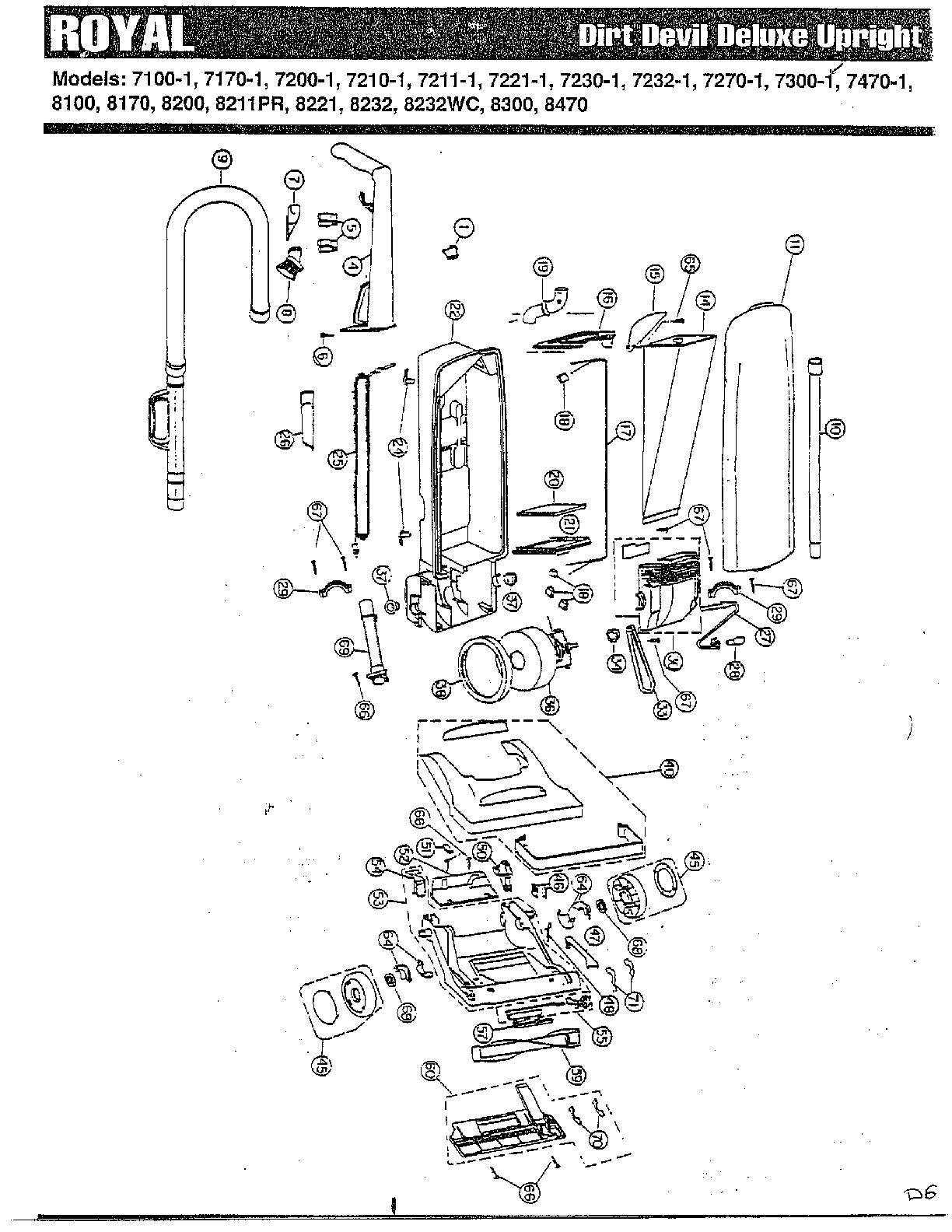 Dirt-Devil model 8200 vacuum, upright genuine parts