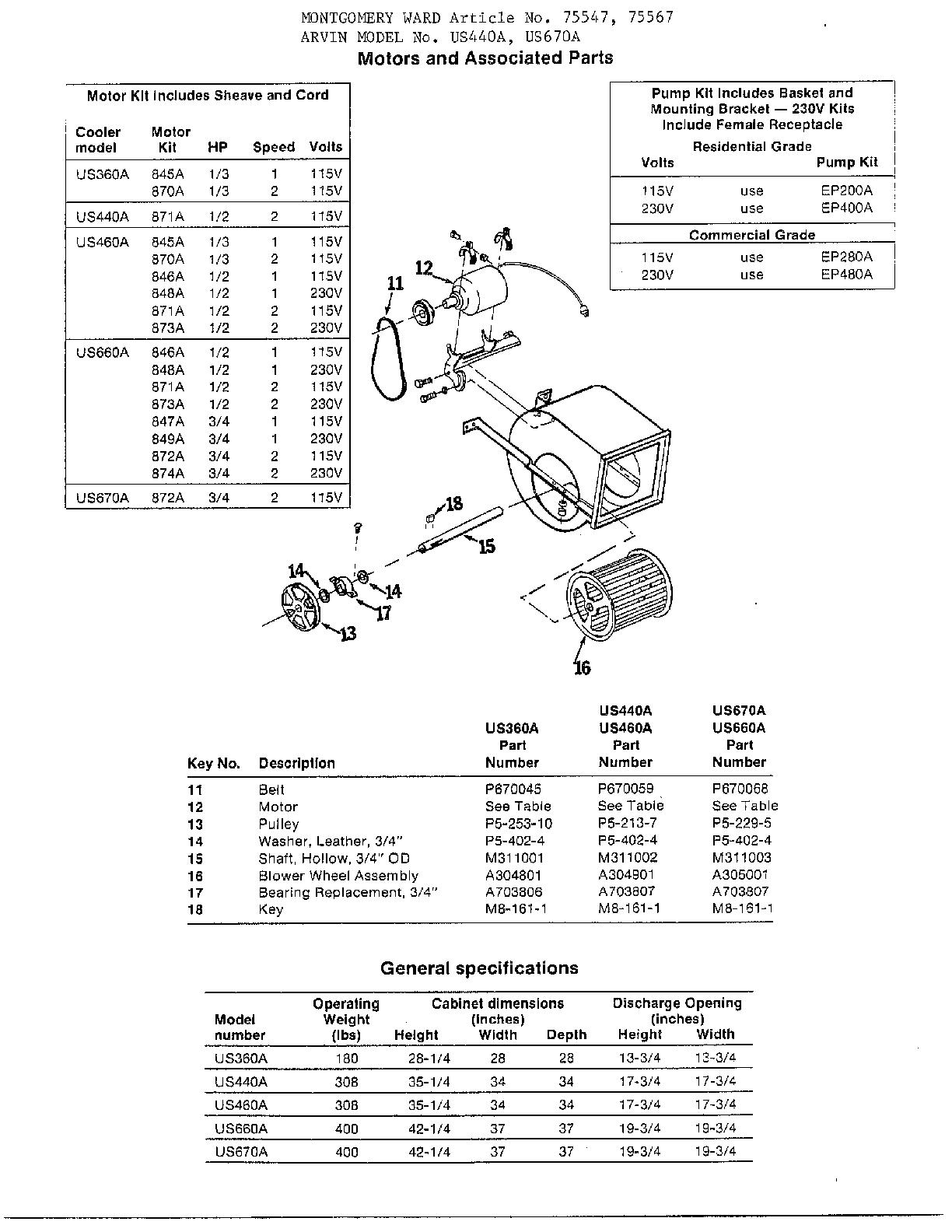 Arvin model UD440A evaporative cooler genuine parts