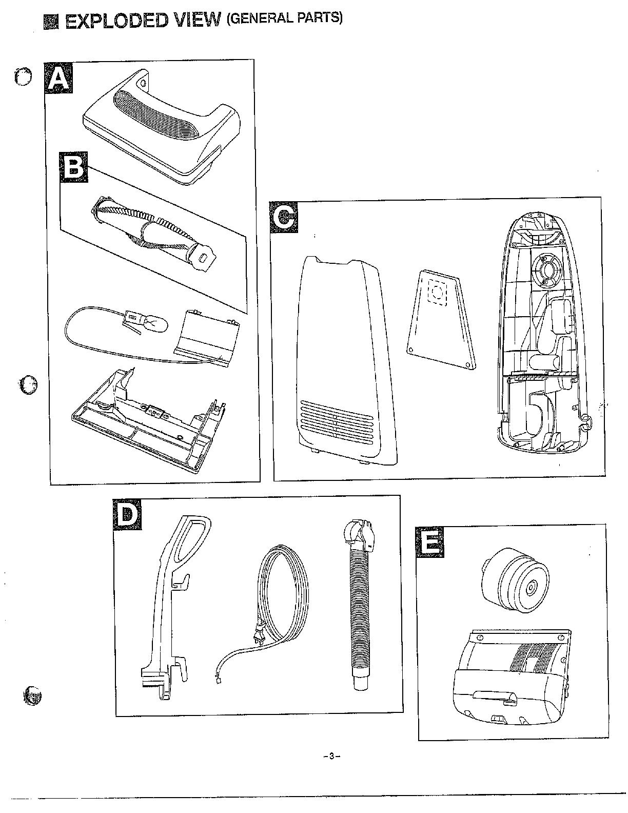 Panasonic model MC-6955 vacuum, upright genuine parts