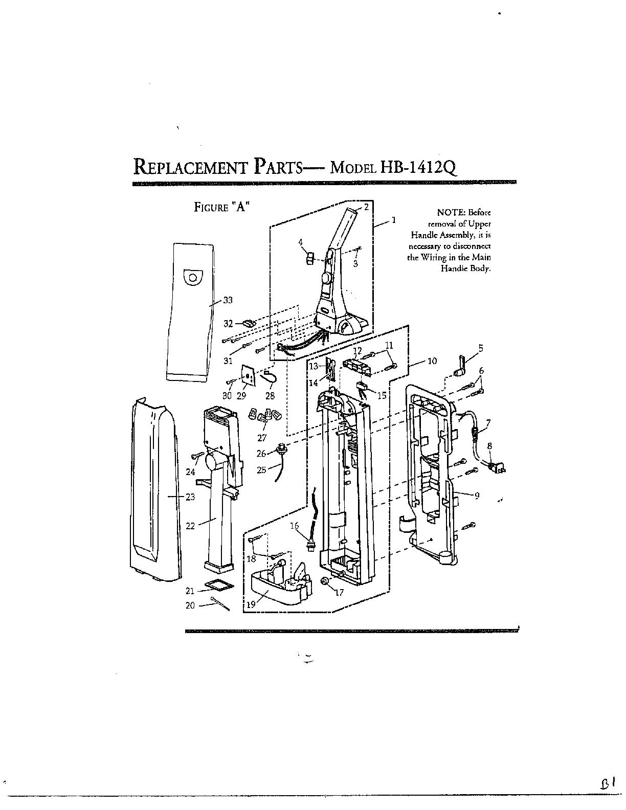 Singer model HB1412Q vacuum, upright genuine parts