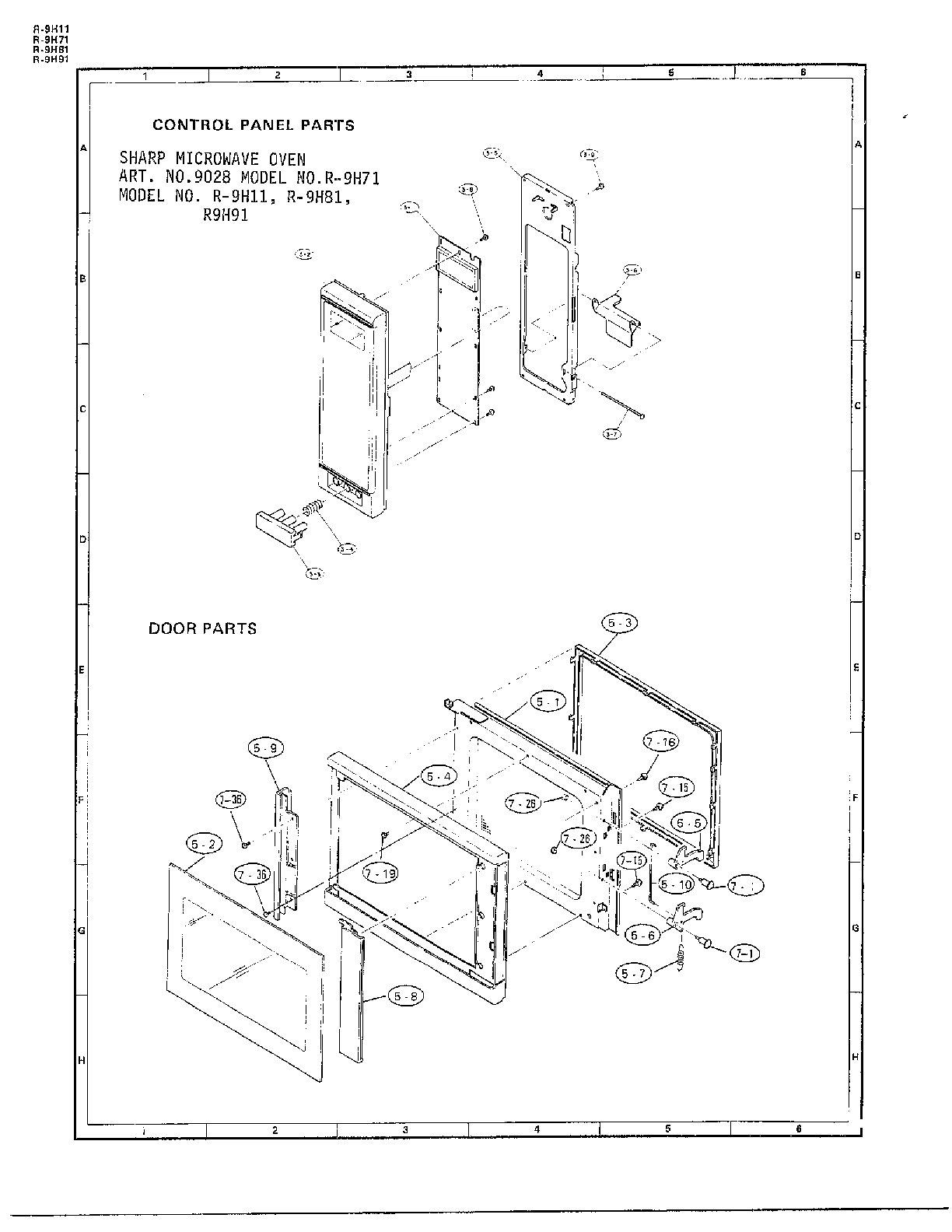 Sharp model R-9H71 countertop microwave genuine parts