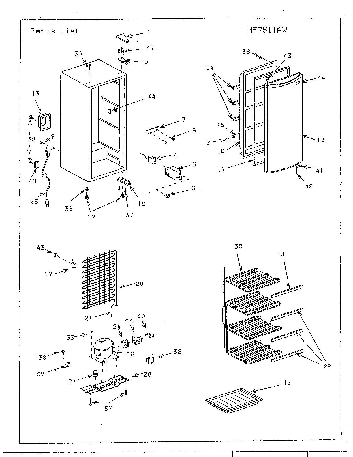 Sanyo model AF758M upright freezer genuine parts