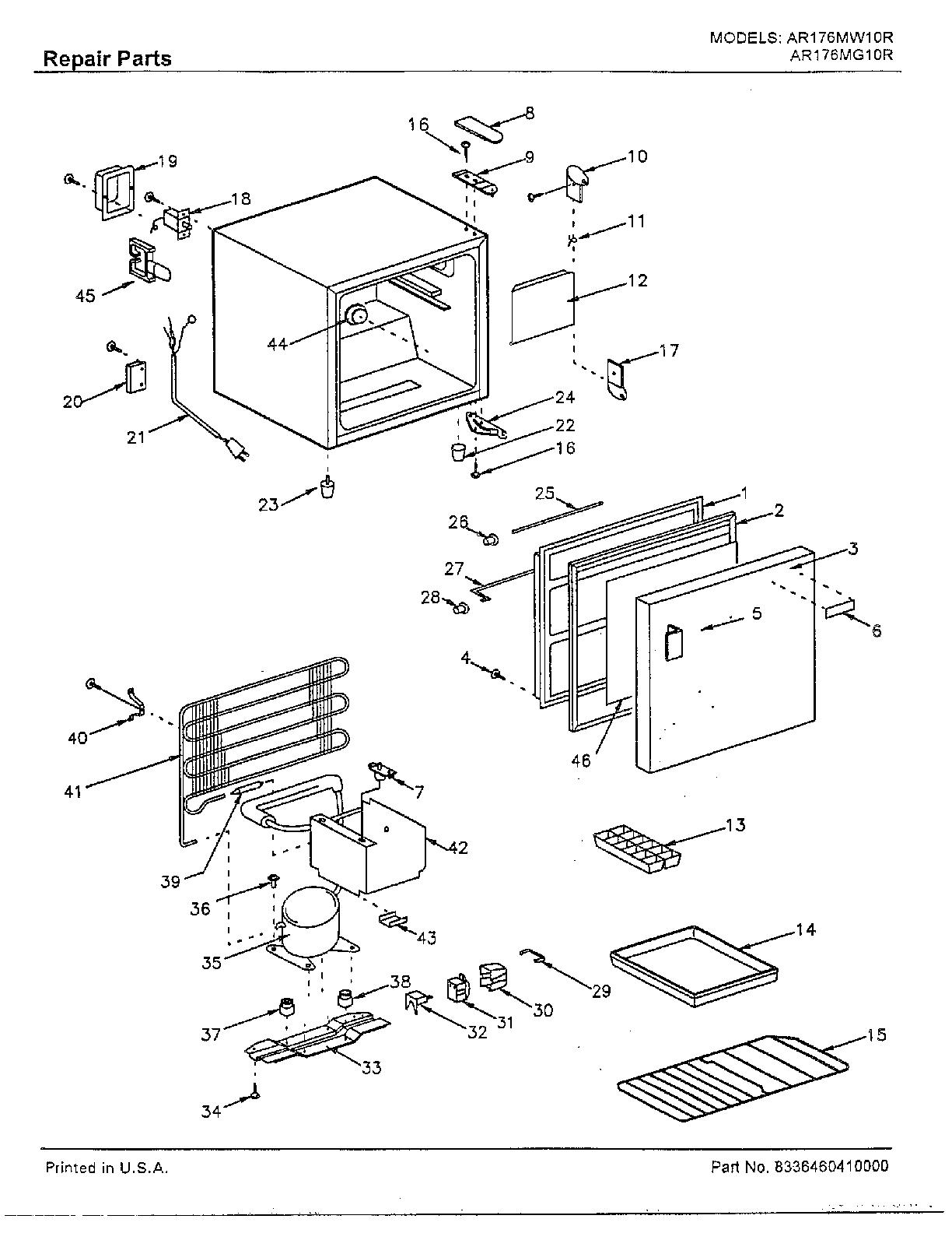 Sanyo model AR176MW10R under counter refrigerator genuine