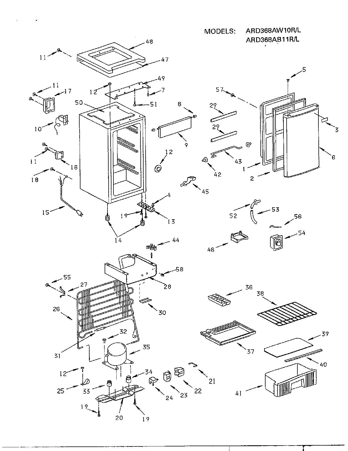 Sanyo model ARD368MB under counter refrigerator genuine parts
