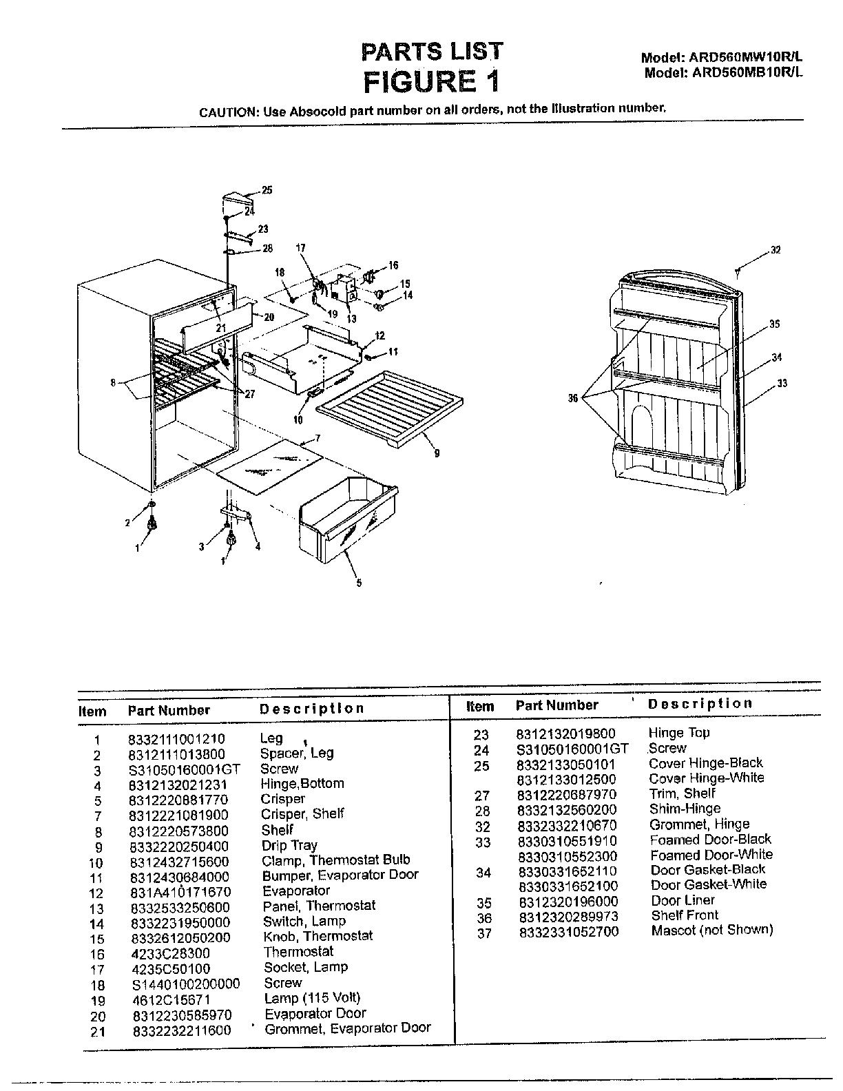 Sanyo model ARD560MW10R/L under counter refrigerator