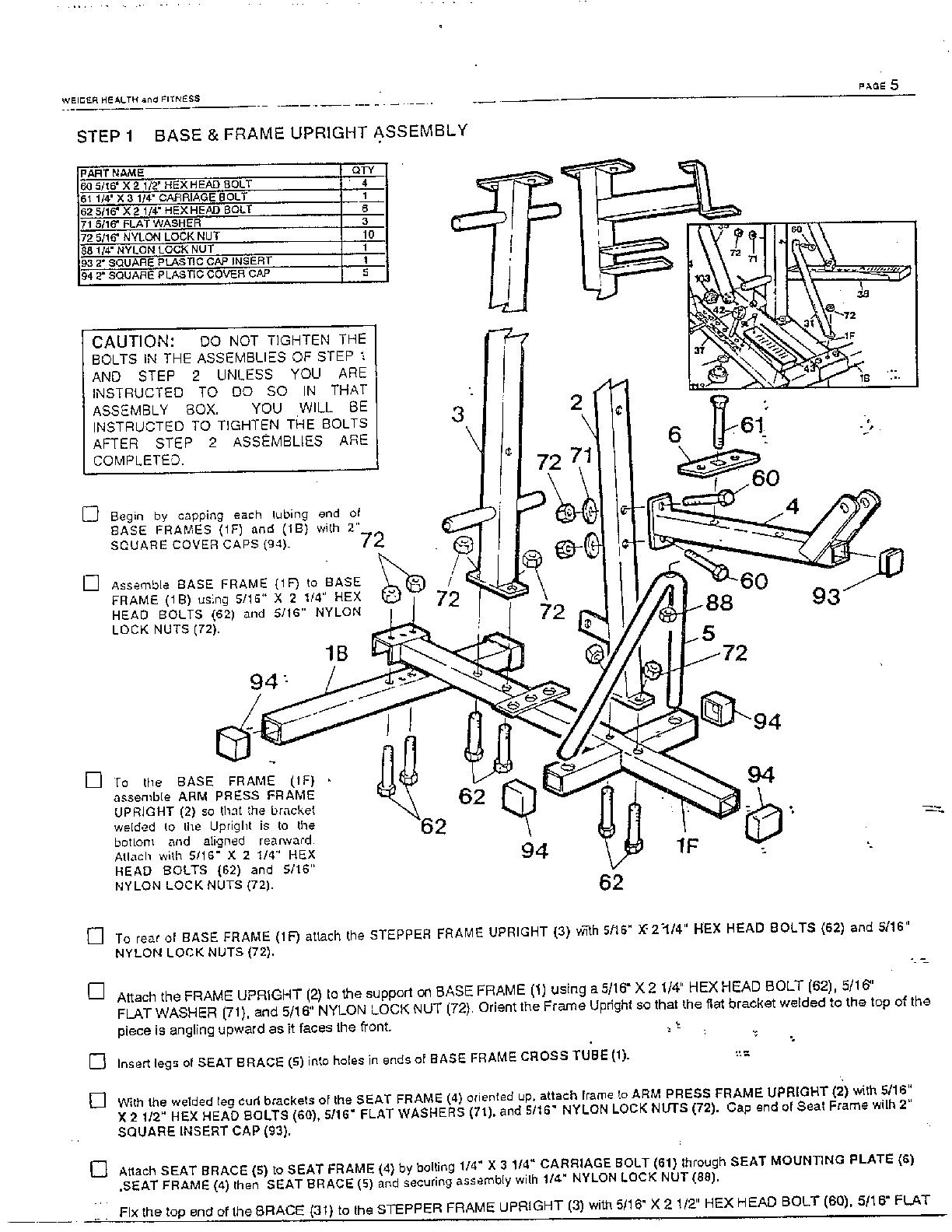 Weslo model E8001 misc exercise genuine parts