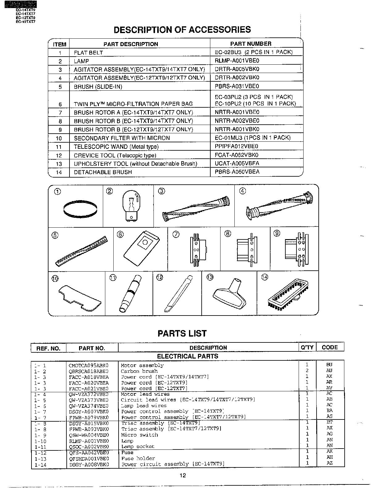 Sharp model EC-14TXT9 vacuum, upright genuine parts