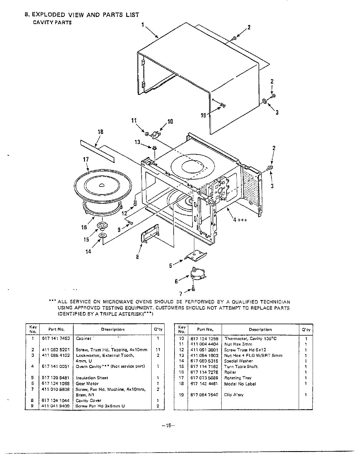 Sanyo model EM604TWS countertop microwave genuine parts